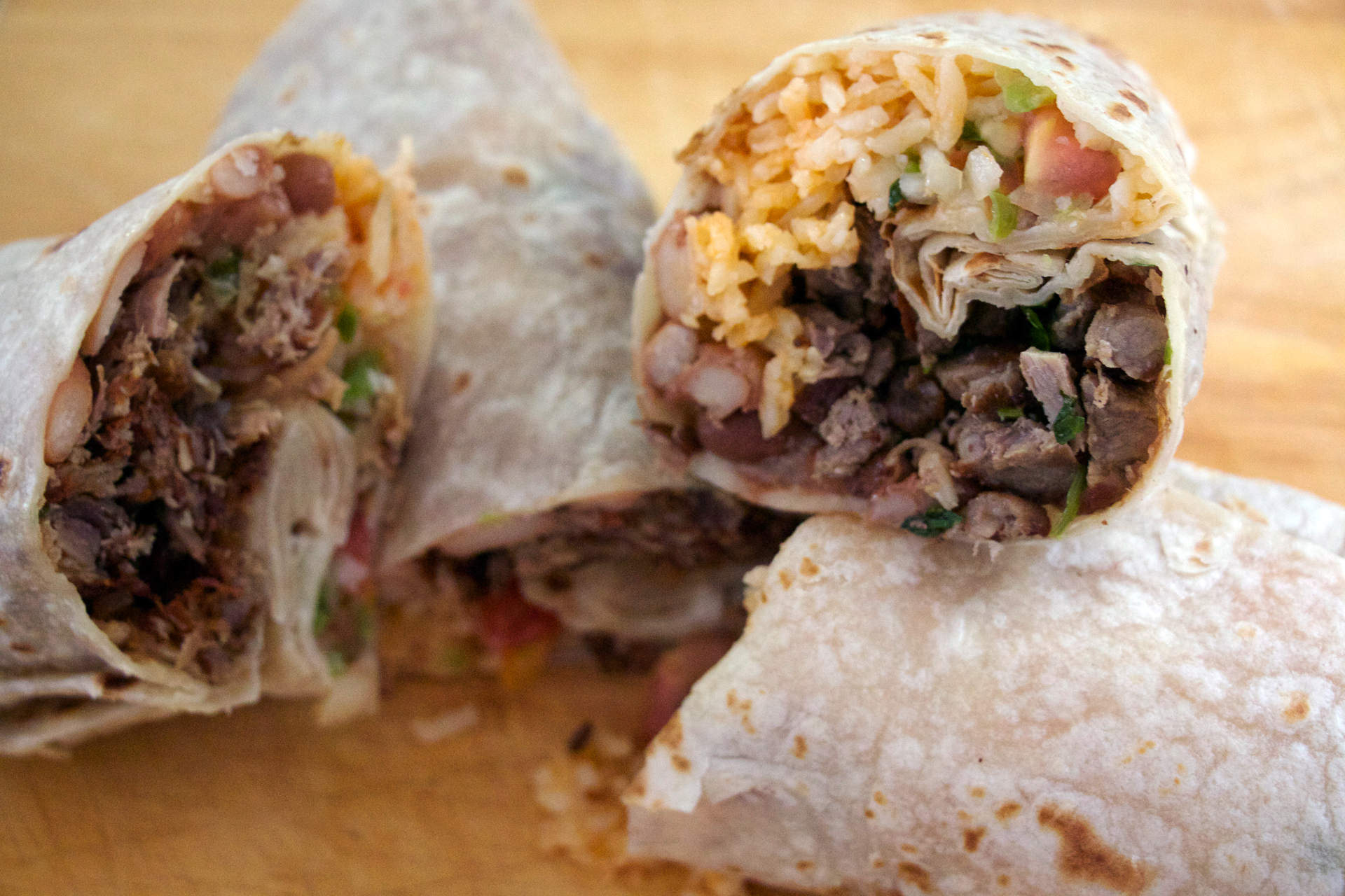 Carne asada and carnitas burritos.