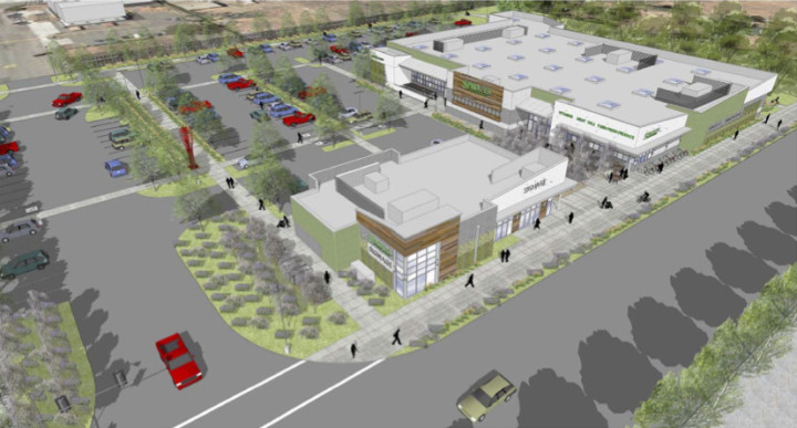 A rendering of the University Village development shows a new Sprouts Farmers Market and additional retail space. A final appeal on the part of Occupy the Farm to stop the project was rejected last week.