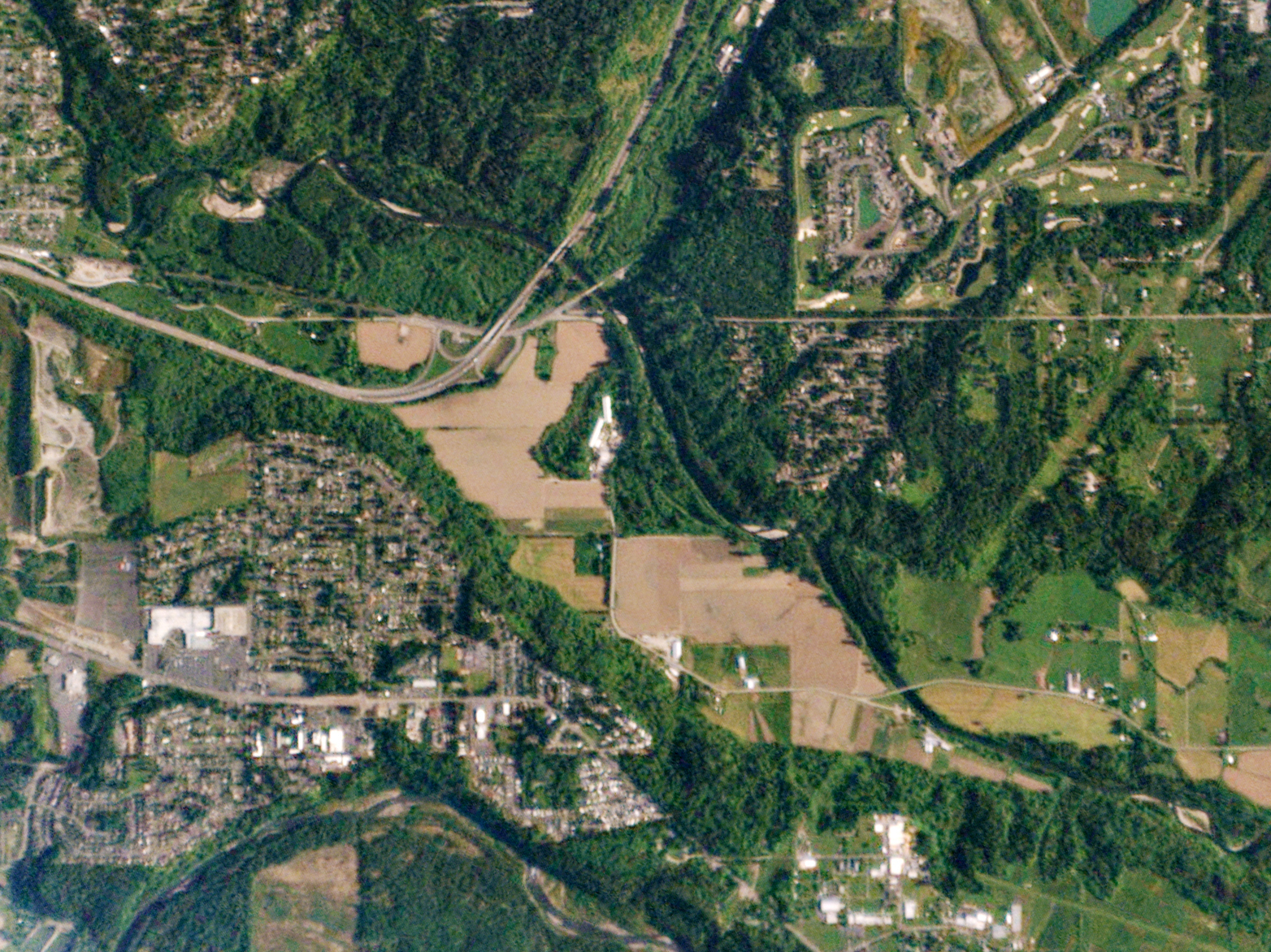Auburn, Wash., is suburb of Seattle about 29 miles from the city center. This 6.3-square-mile view was photographed on May 18, 2015. The researchers say the city of Seattle could source 100 percent of its food from within a 100-mile radius.