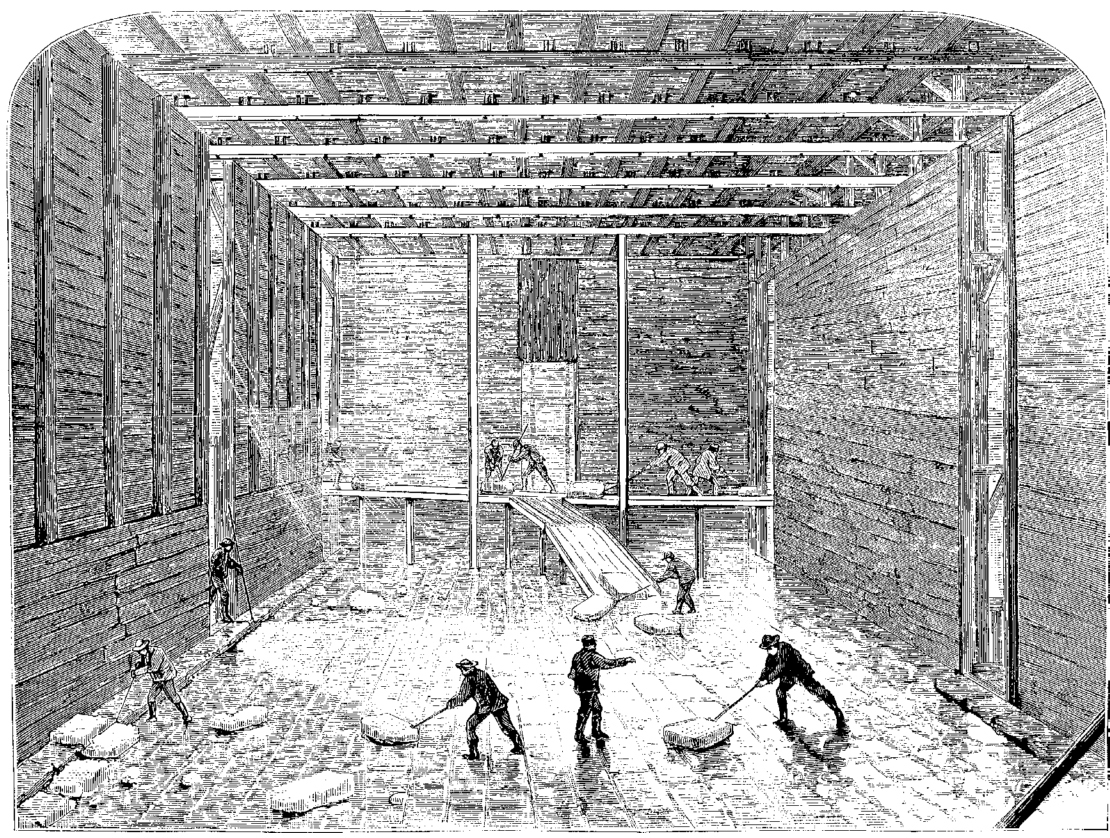 Ice being stacked at Barrytown, N.Y., 1871. You can't have iced tea without ice, and American entrepreneurs of the 19th century came to the rescue.