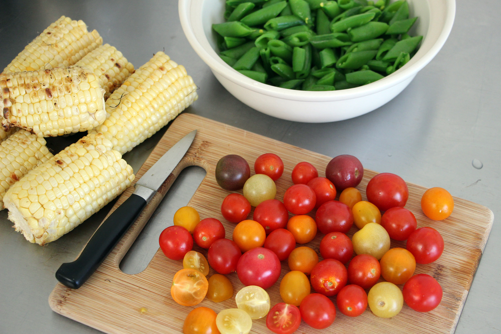 Salad Ingredients: Grilled Corn, Sugar Snap Peas and Cherry Tomatoes