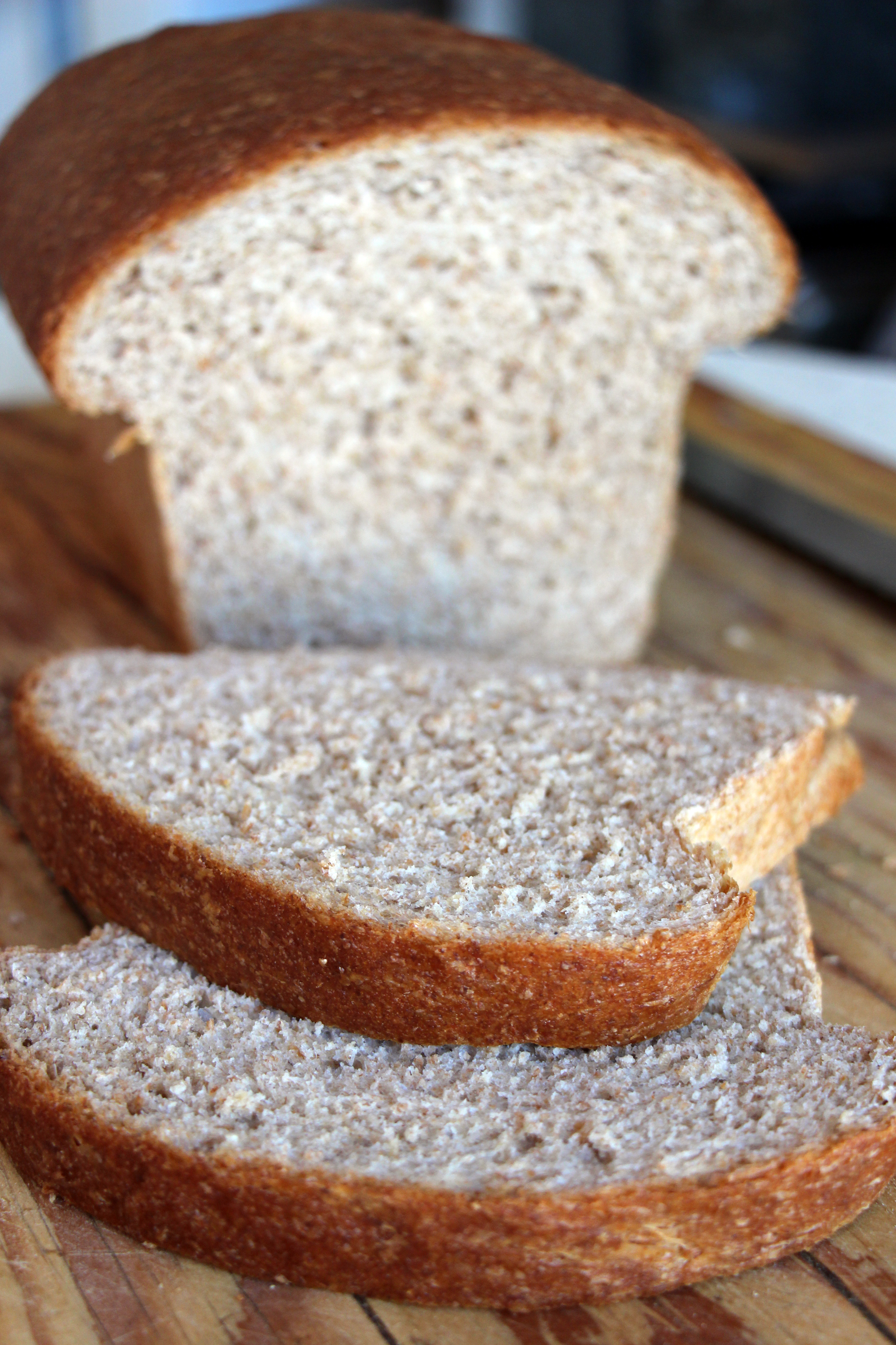 Sliced Homemade Whole-Wheat Honey Sandwich Bread