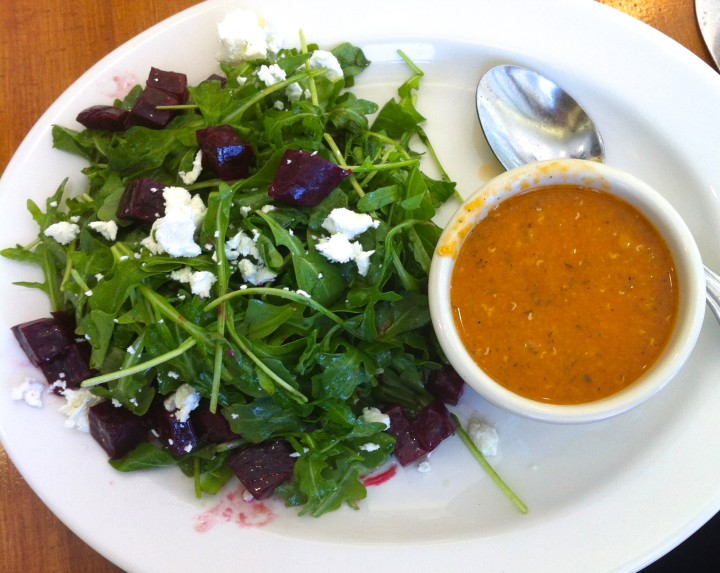Kobani's arugula and beet salad with creamy lentil soup.