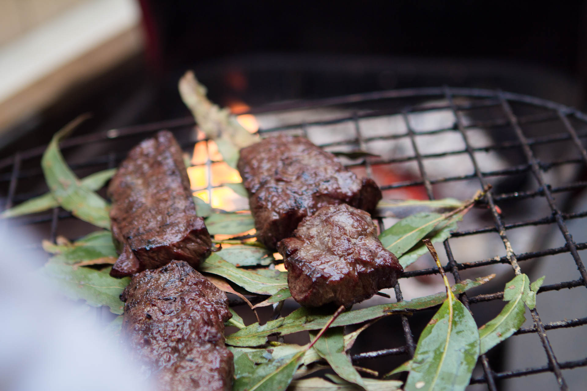 Beef grilling with eucalyptus.