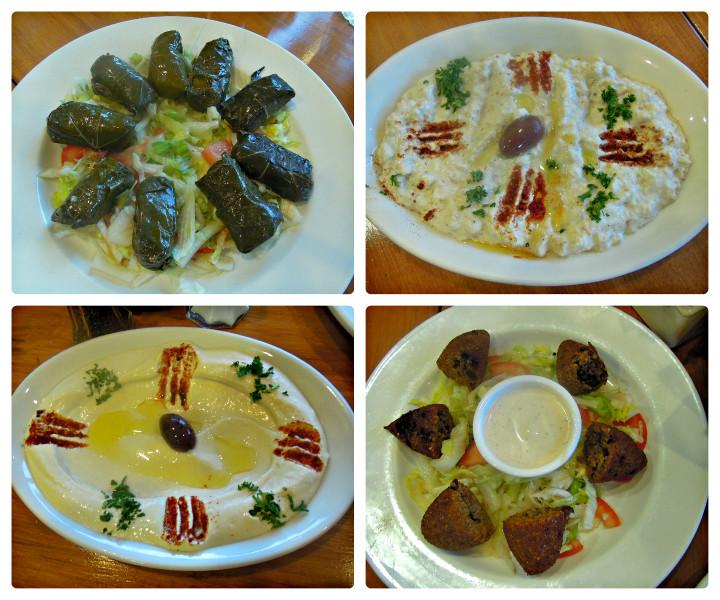 Assorted starters: dolmas, babaganoush, hummus, kibbeh.