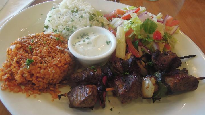 Kobani's lamb shish kebab plate.