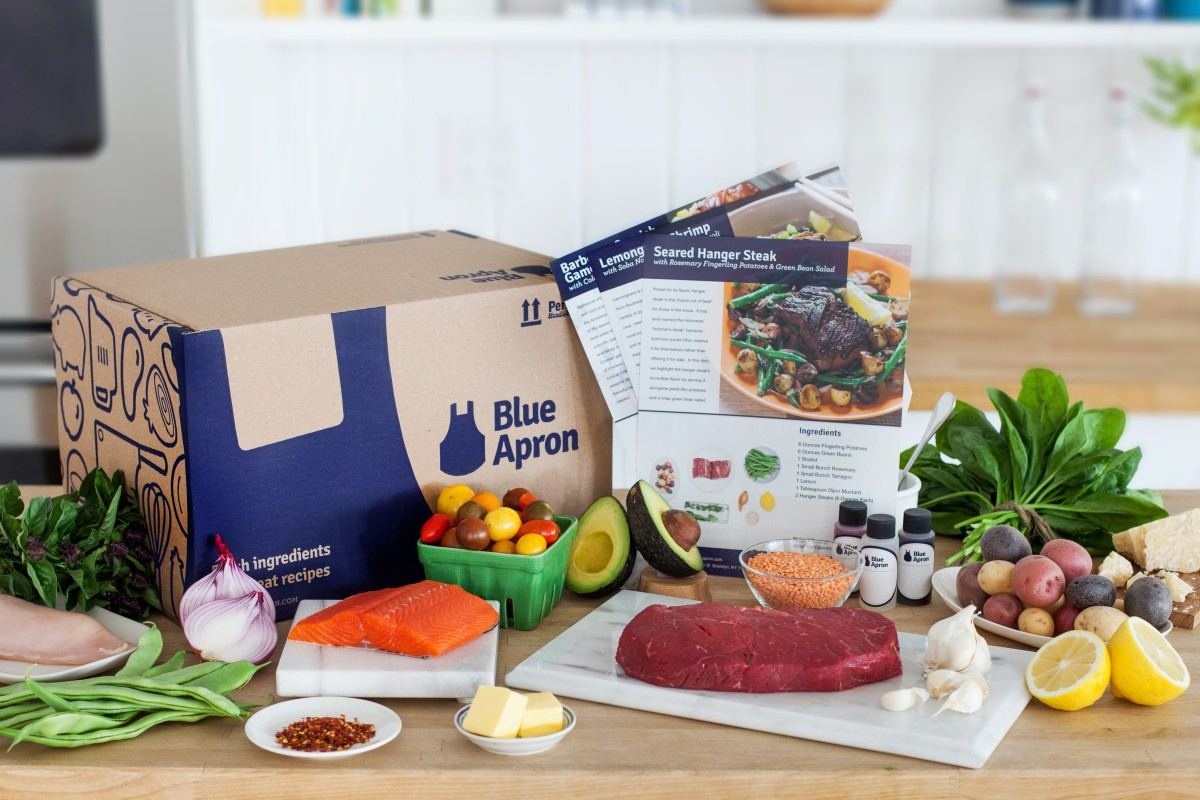 Several meal kits from Blue Apron.