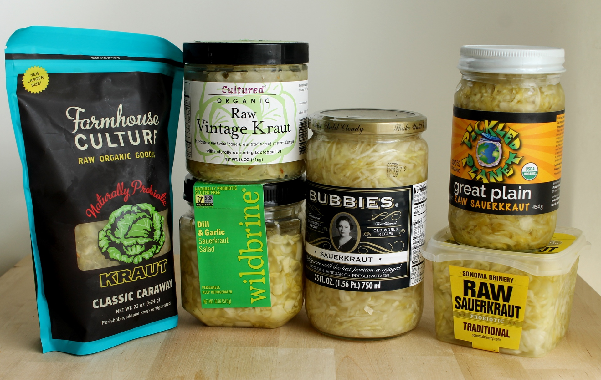 Six varieties of raw sauerkraut are widely available in the Bay Area.