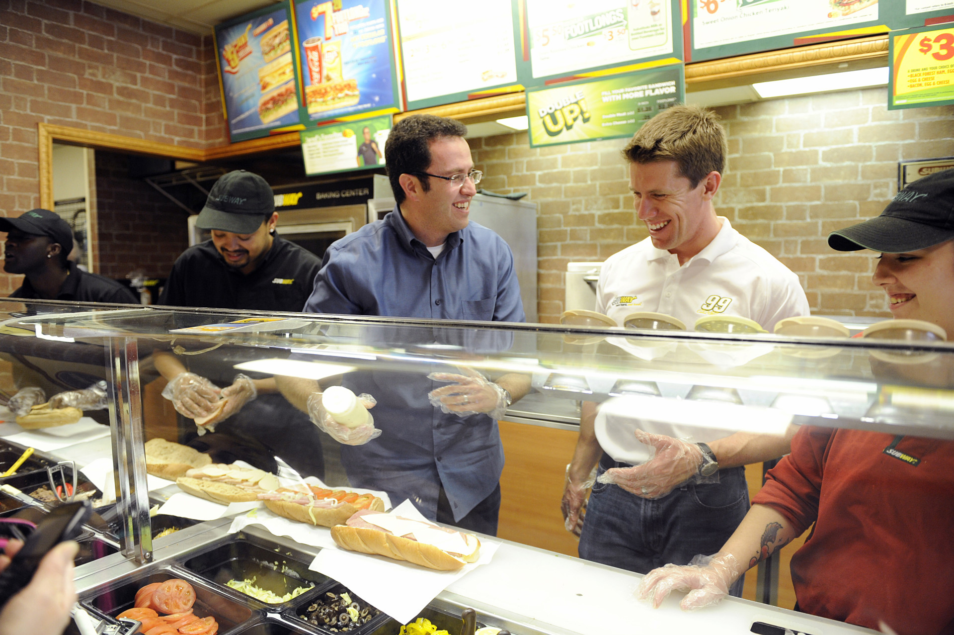 For 15 years, Jared Fogle has been the famous face of Subway. Here, Fogle (left) visits a Subway shop in Daytona Beach, Fla., with NASCAR driver Carl Edwards in 2012.