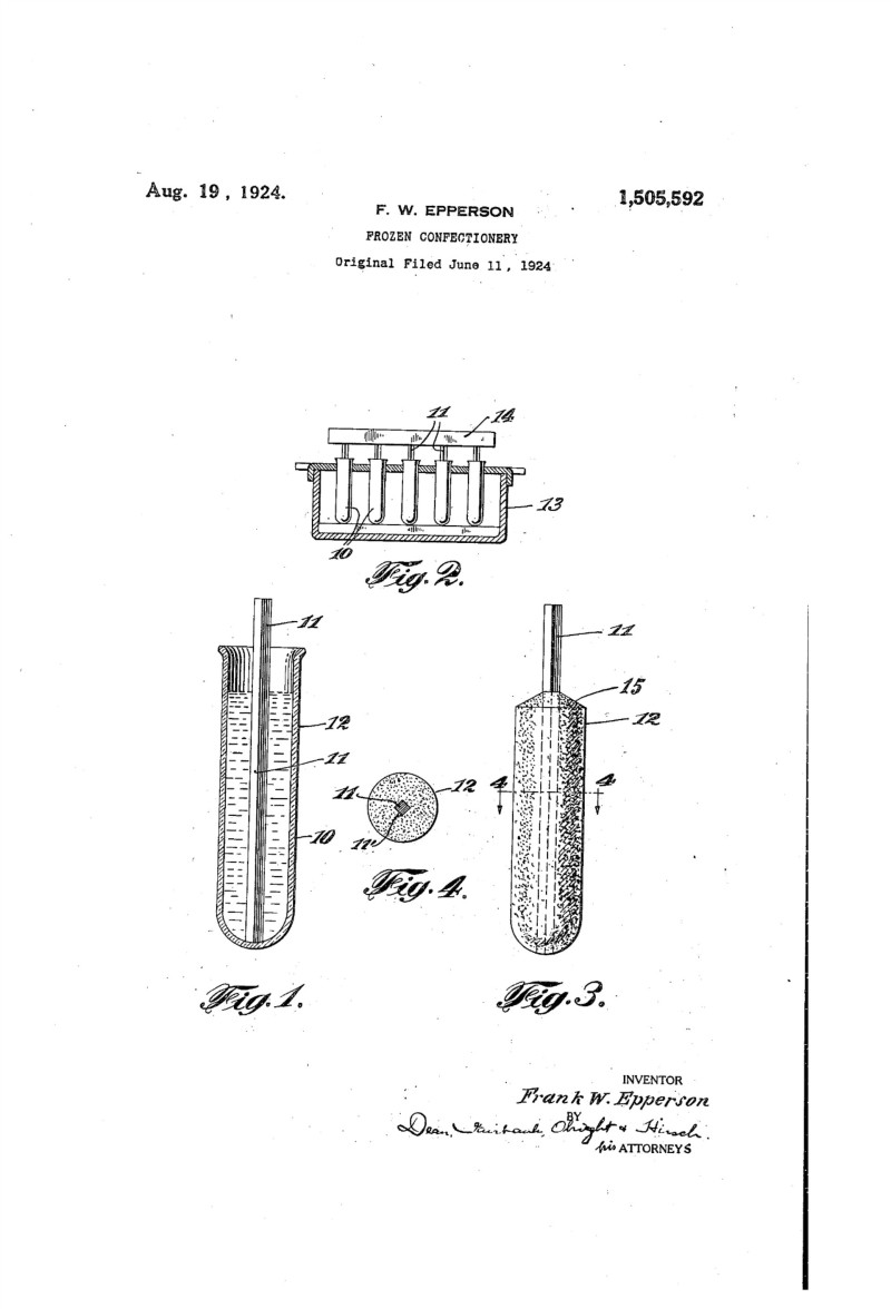 "The patent Frank Epperson filed in 1924 for his ""Frozen confectionery"" Source: United States Patent and Trademark Office"