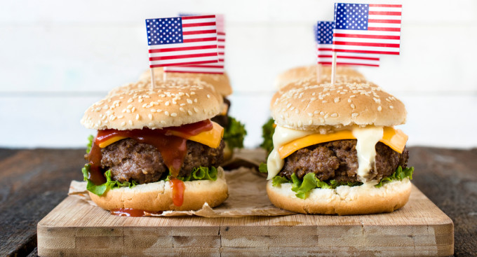 Cheeseburgers with American flags.
