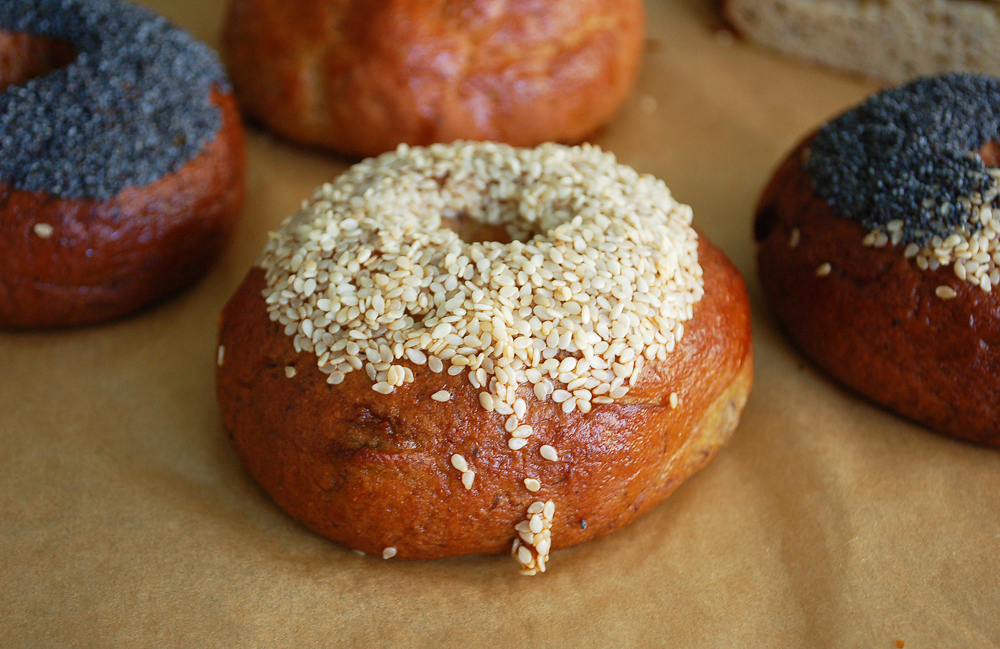 The sesame bagel has heaps of seeds on top and the shiny exterior that comes from being boiled -- in this case, in honey water, as is done for Montreal-style bagels.