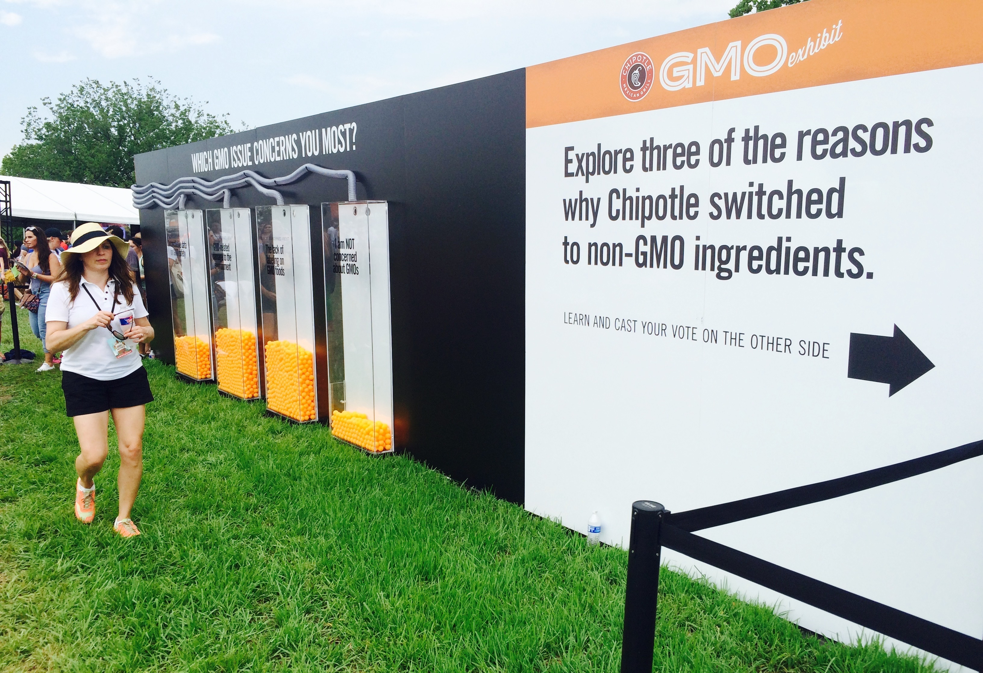 Attendees of the Chipotle Cultivate Festival in Kansas City, Mo., on July 18 could vote on their opinions about genetically modified organisms after going through an exhibit.