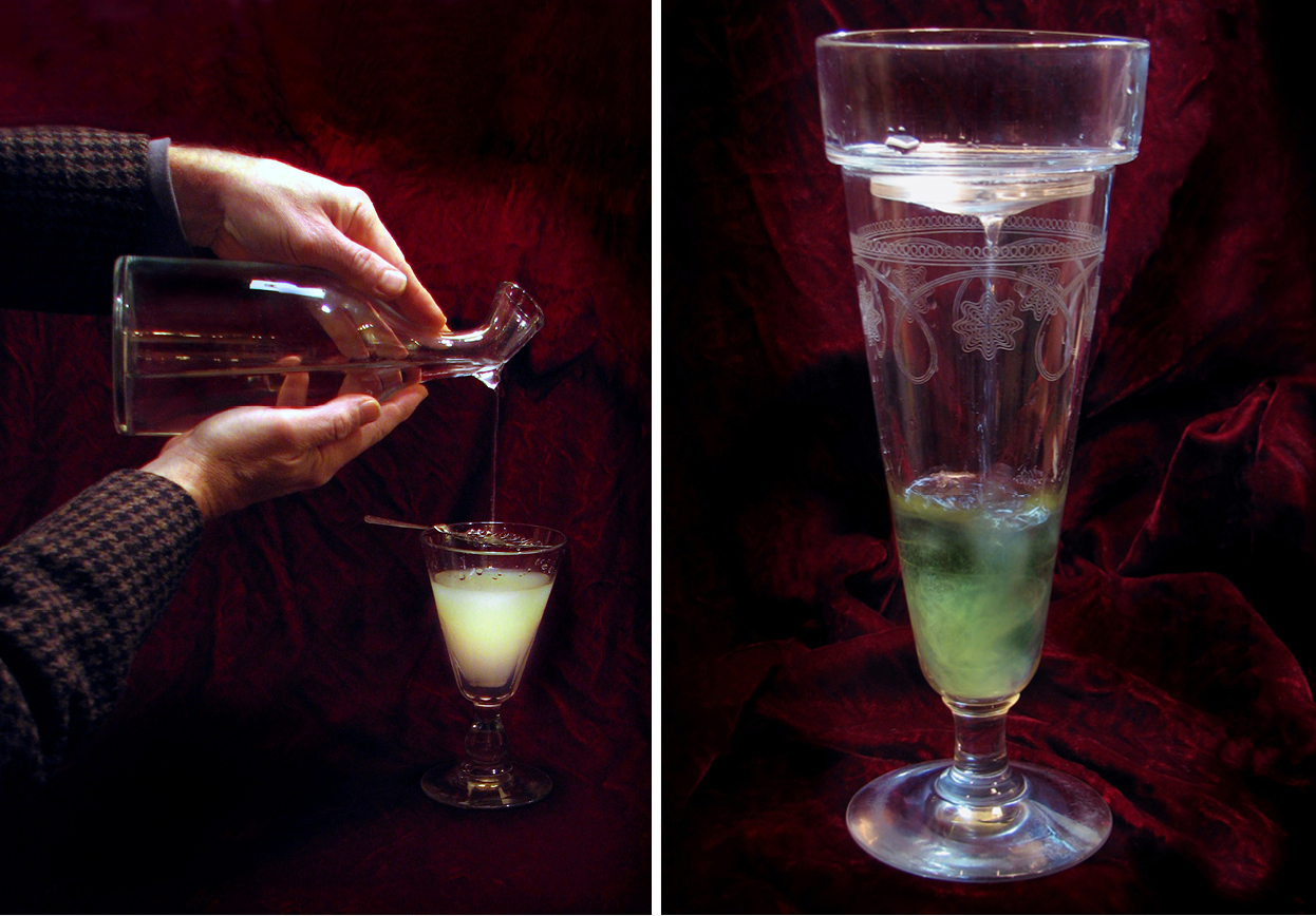 Le louche refers to the transformation that happens when water is added to absinthe, turning the liquor from a deep green to a milky, iridescent shade. At left, a classic pour. At right, an absinthe glass fitted with a brouilleur, a device that holds the ice and lets water slowly drip down.