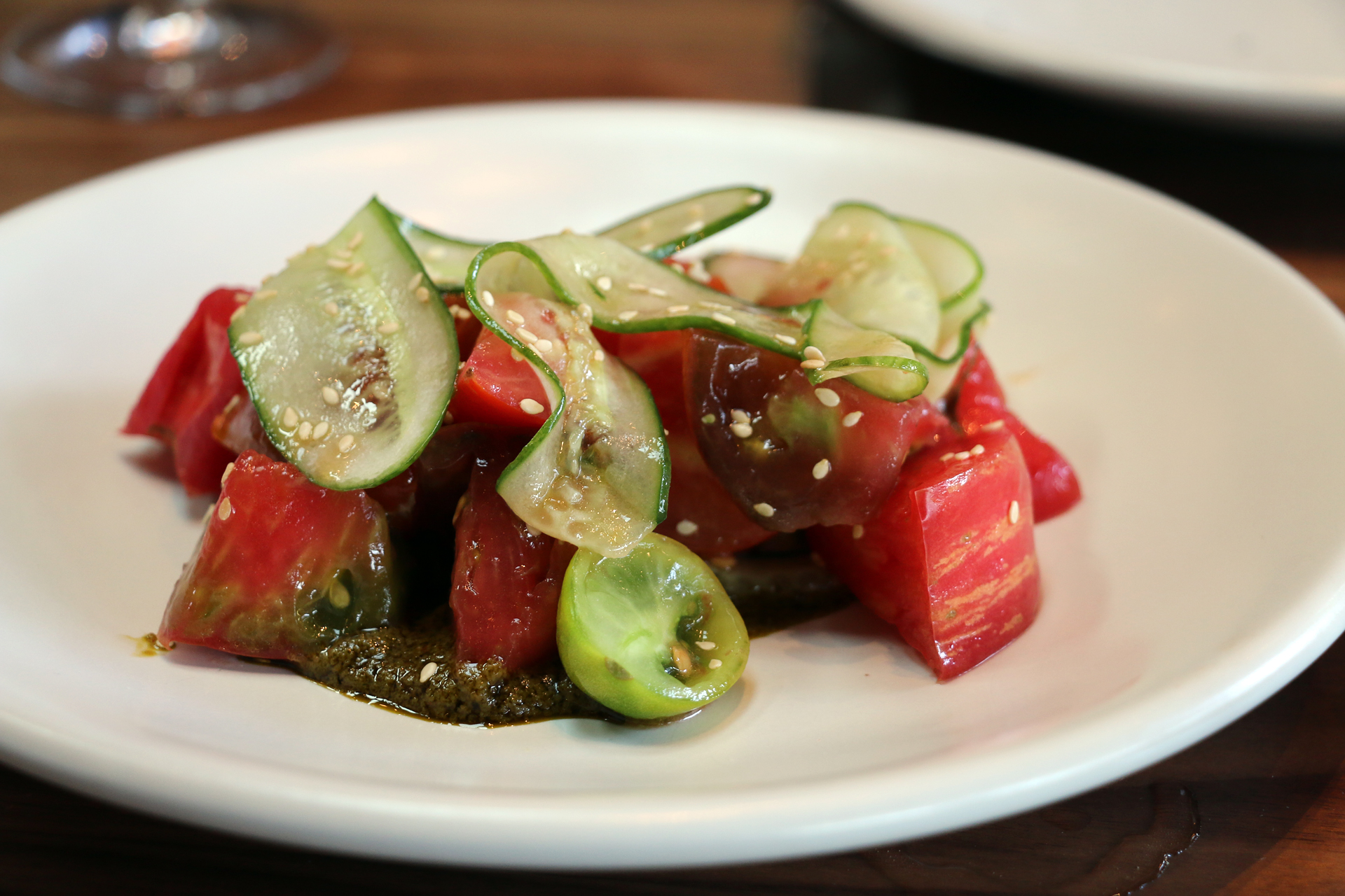 Tomato salad with anchovy-sesame sauce.