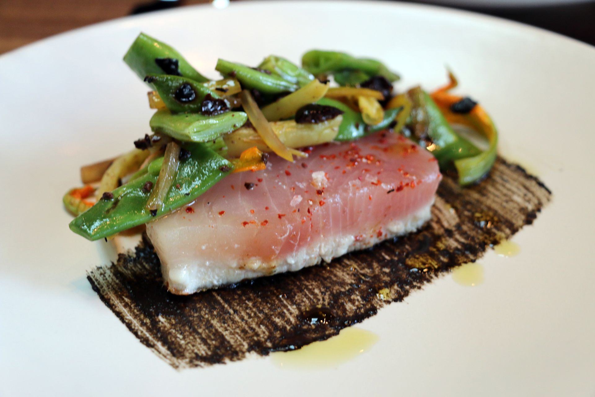 Rare-seared albacore tuna.