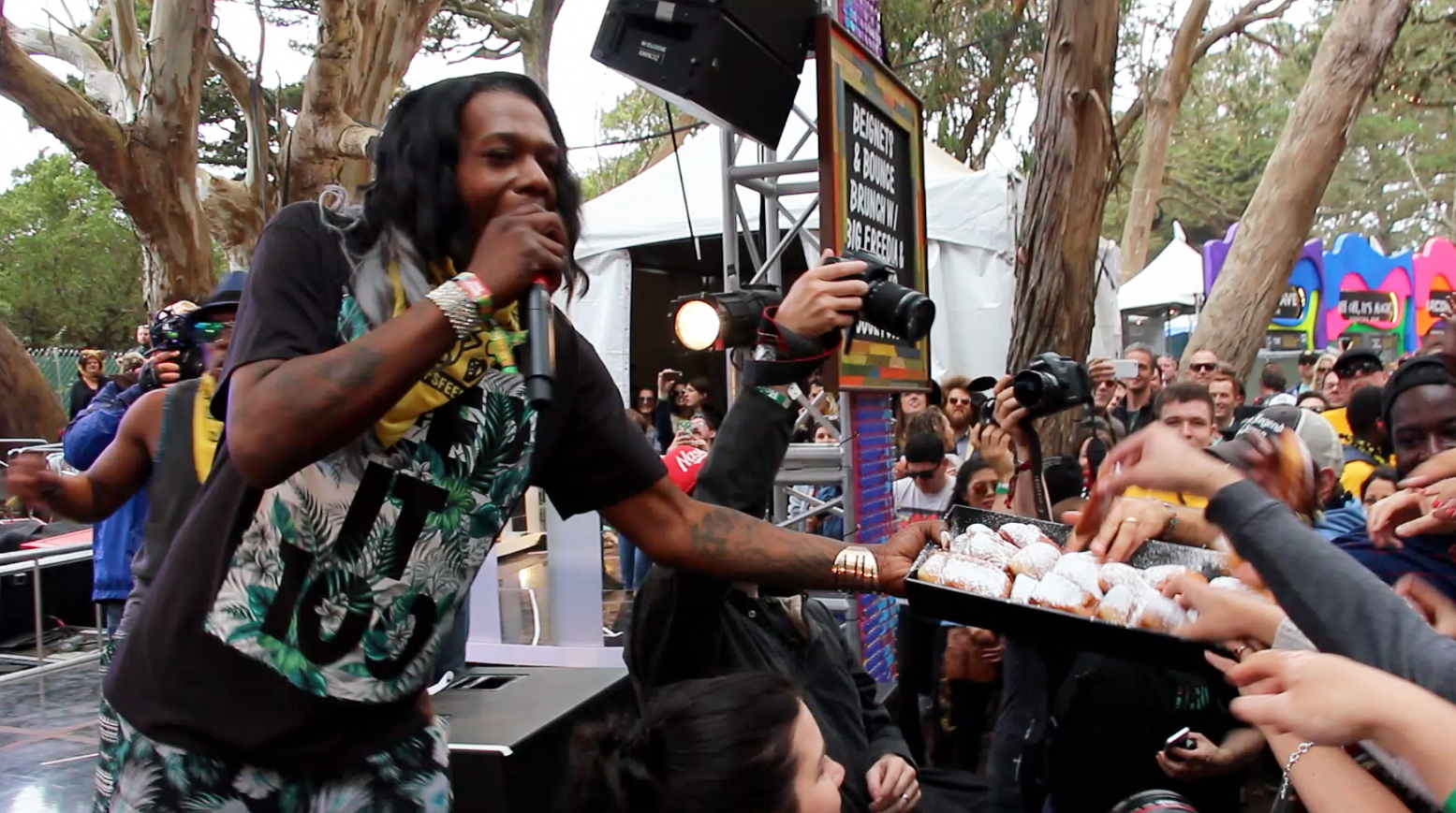 Big Freedia serving up Brenda's beignets at the GastroMagic stage.