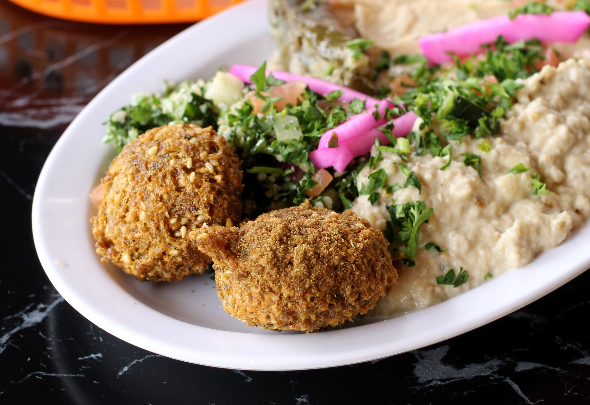 The vegetarian plate at King of Falafel in San Francisco.