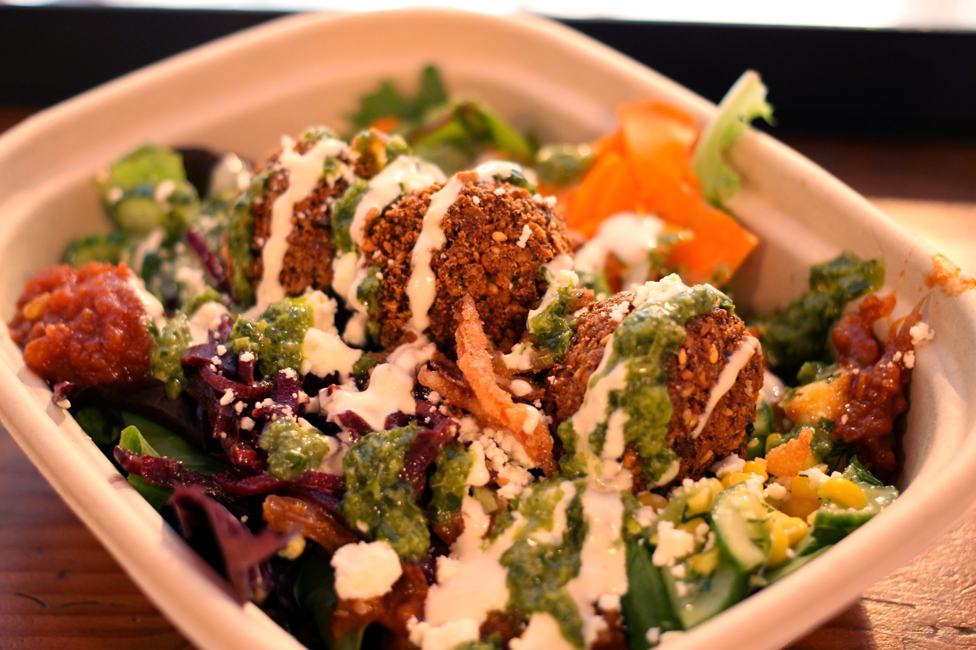 The falafel salad with all the toppings at Liba Falafel in Oakland.
