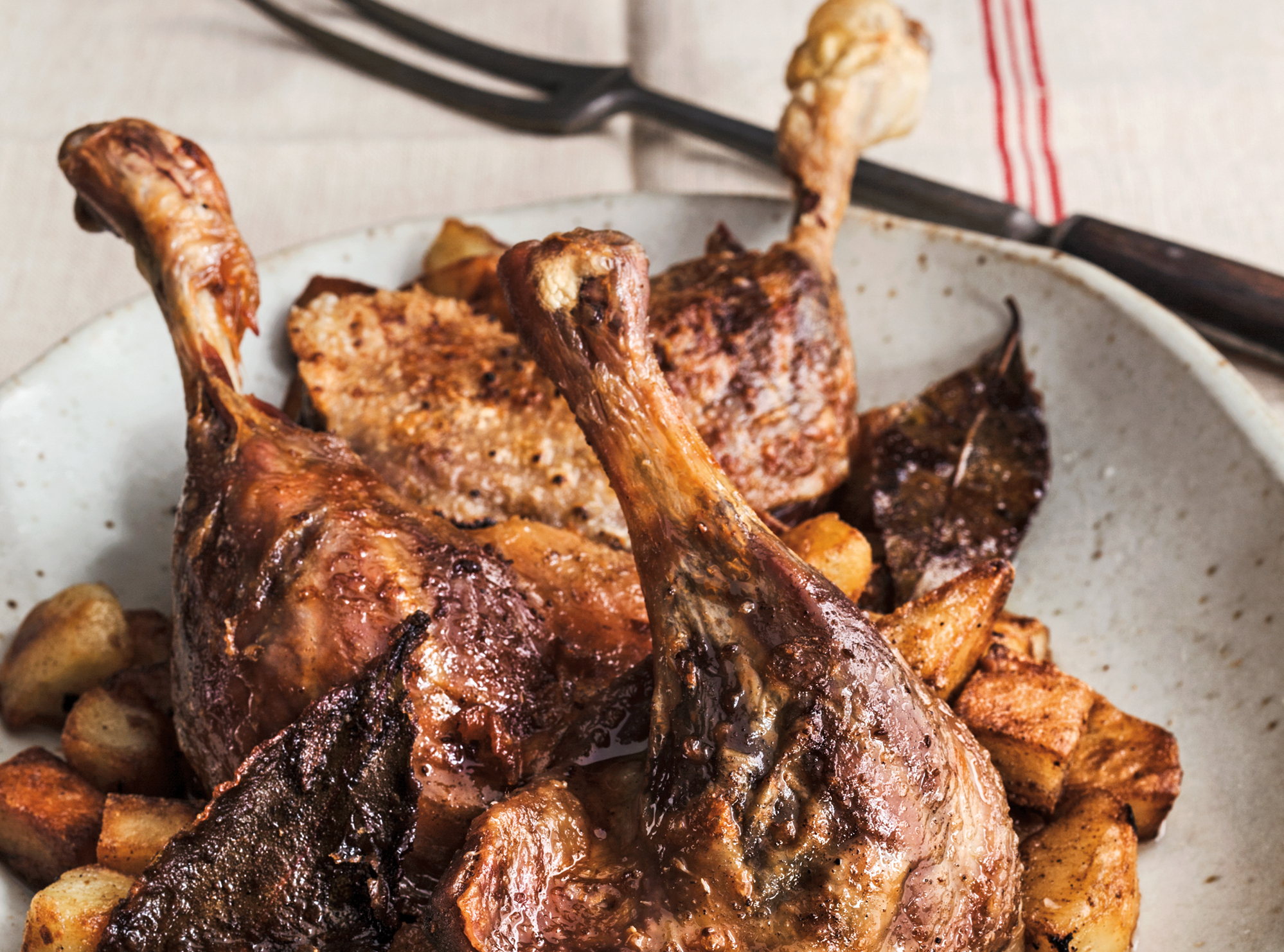 Traditional recipes for duck confit, or confit de canard, can require dozens of steps to prepare. David Lebovitz's fake take cuts the steps down to five.