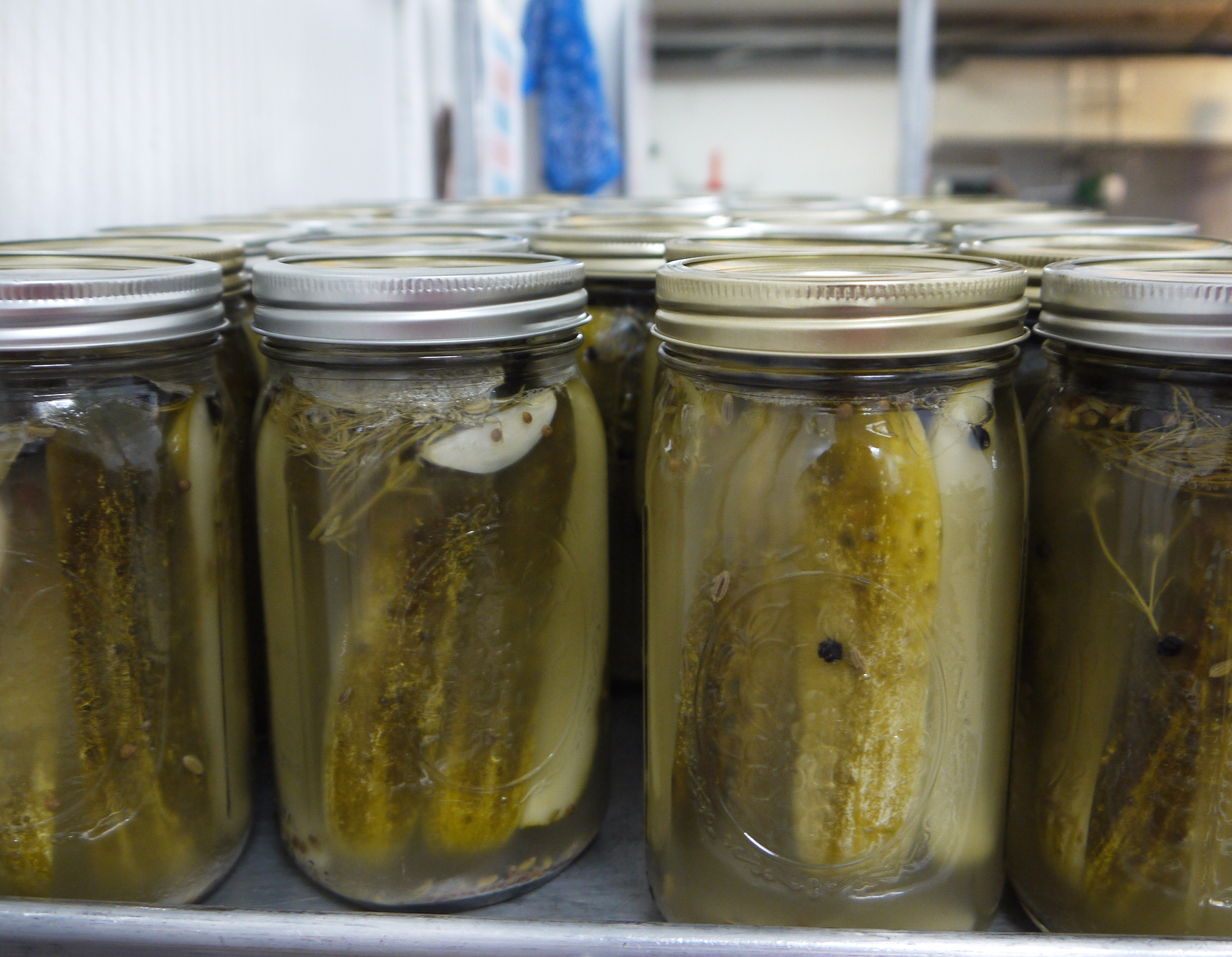 Jars of pickles at Three Stone Hearth.