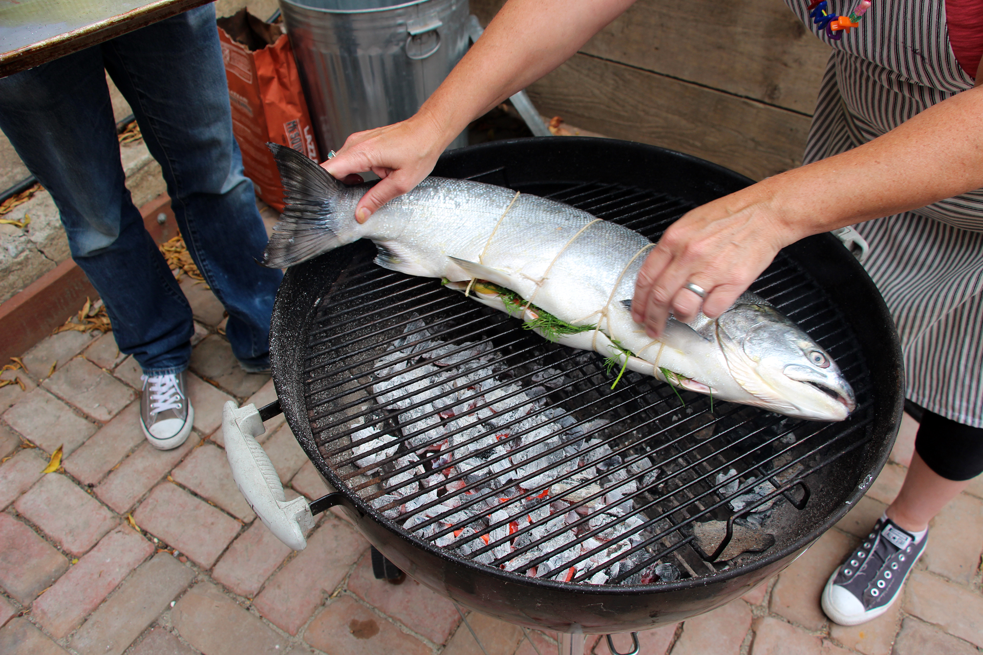 Grease the grill with oil, then lay the salmon on the cooler side of the grill.