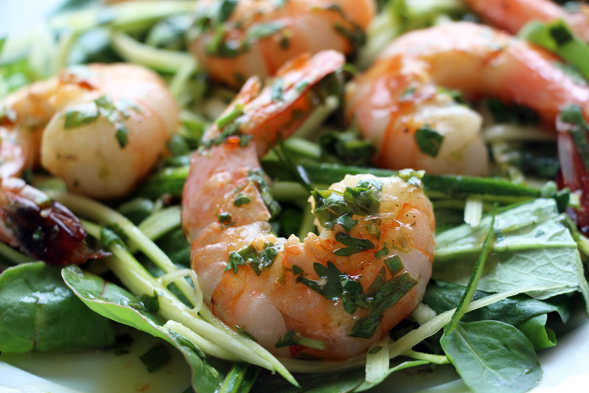 Grilled Shrimp Salad with Zucchini Noodles, Baby Greens, and Spicy Thai Basil Vinaigrette