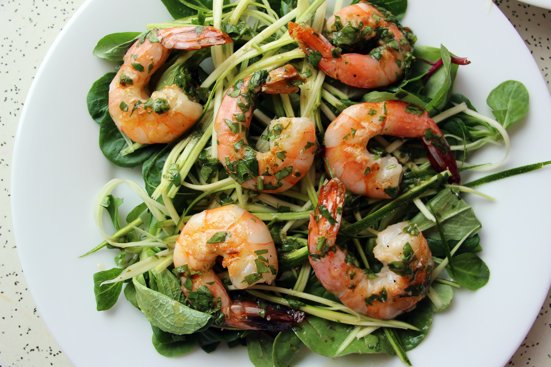 Grilled Shrimp Salad with Zucchini Noodles, Baby Greens ...