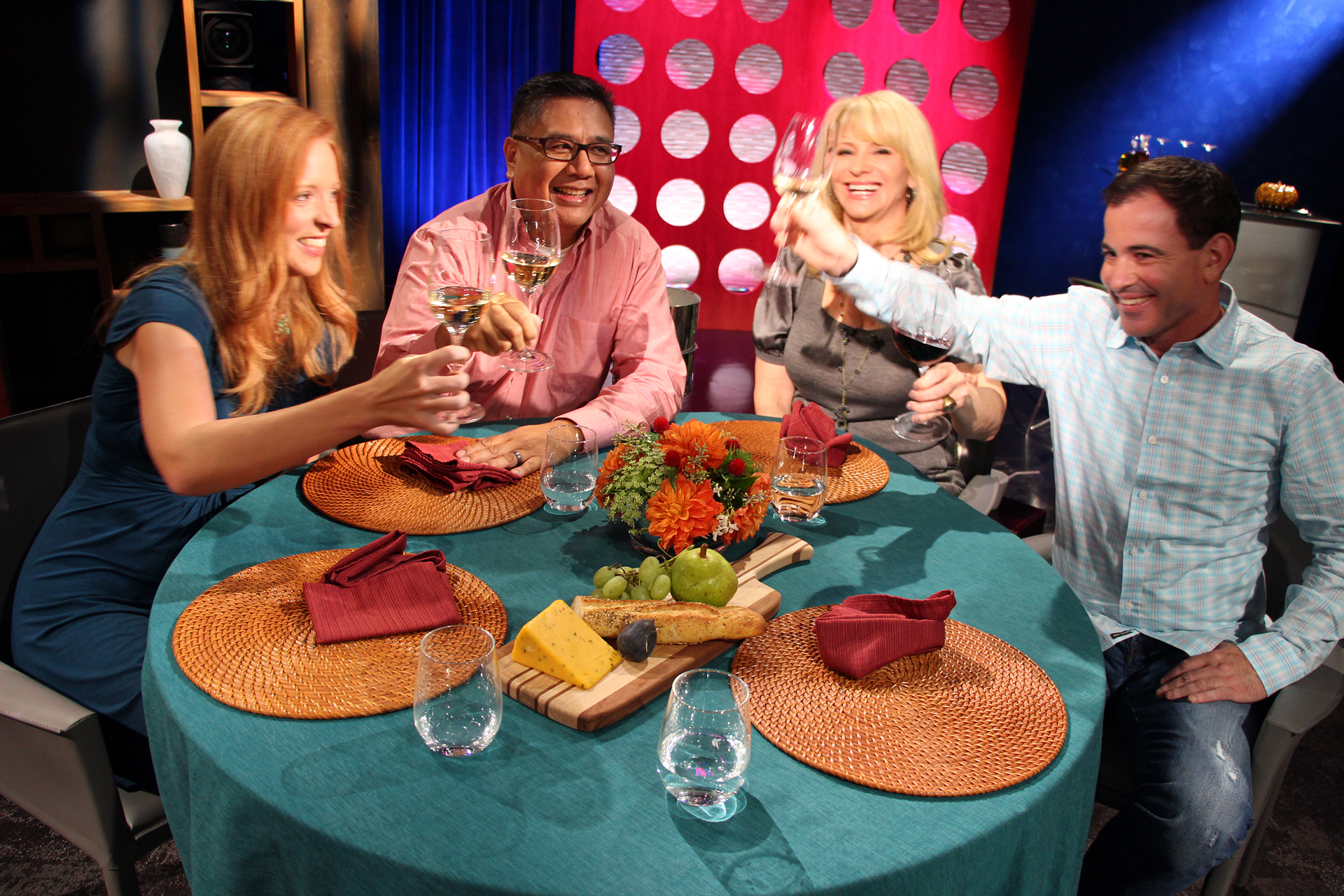 Check, Please! Bay Ares Host Leslie Sbrocco and guests on the set of the fifth episode of season 10.