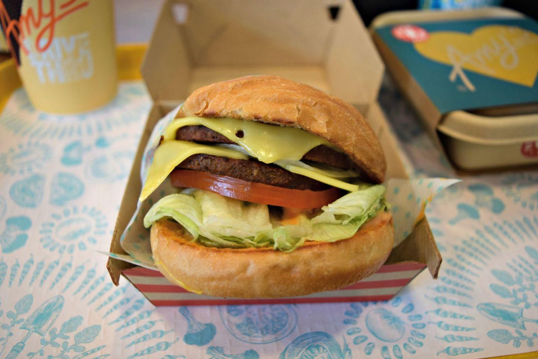 """The vegan """"Amy"""" burger."""