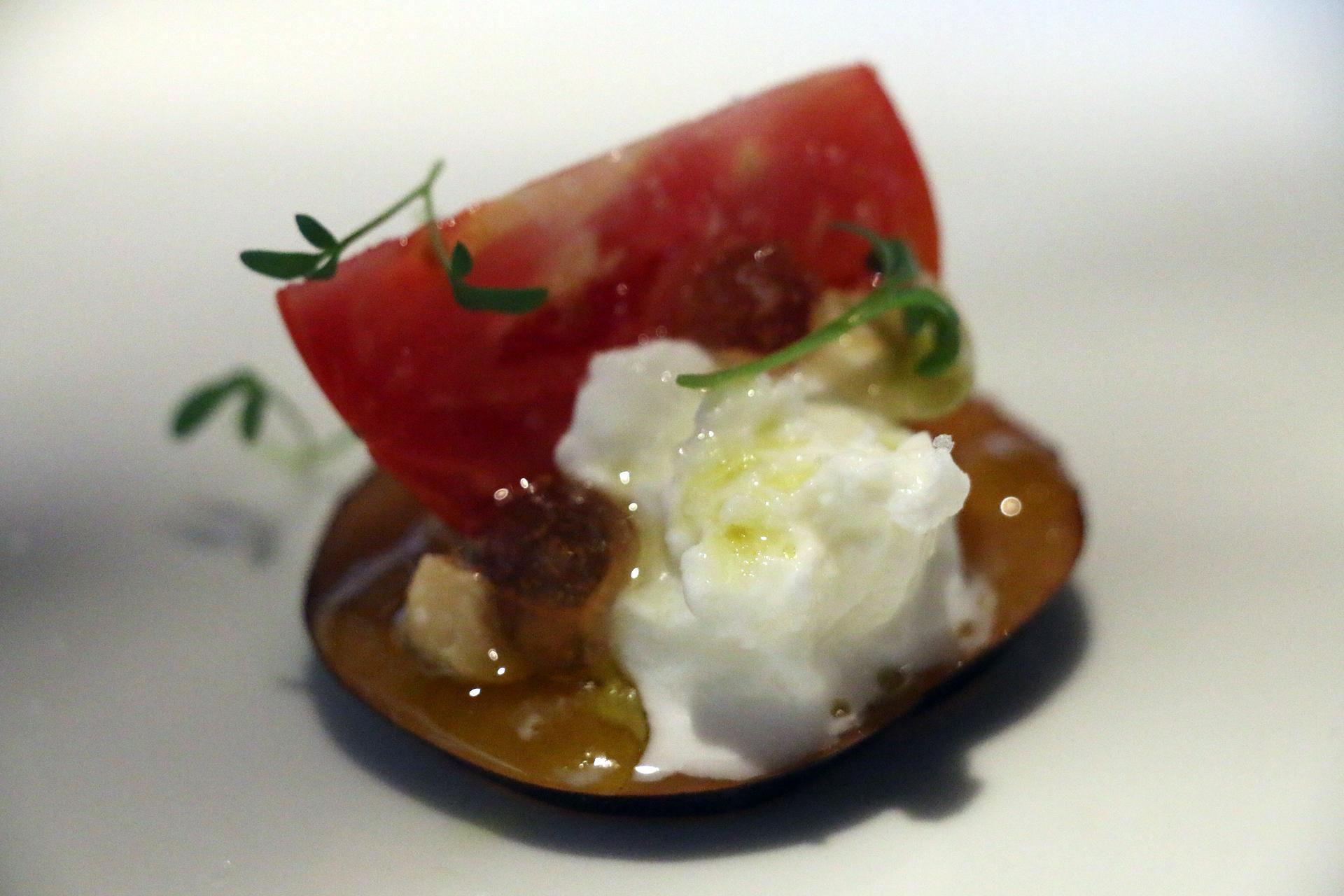 Plum, tomato and buffalo mozzarella salad