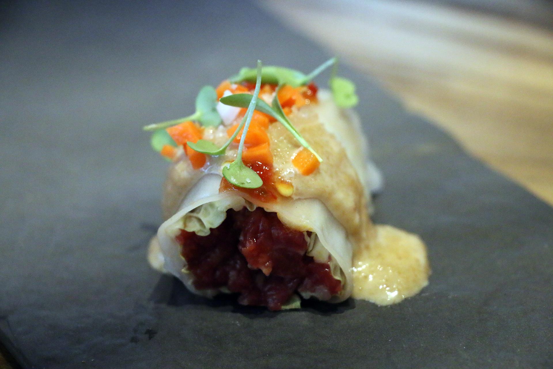 Wagyu steak tartare roll