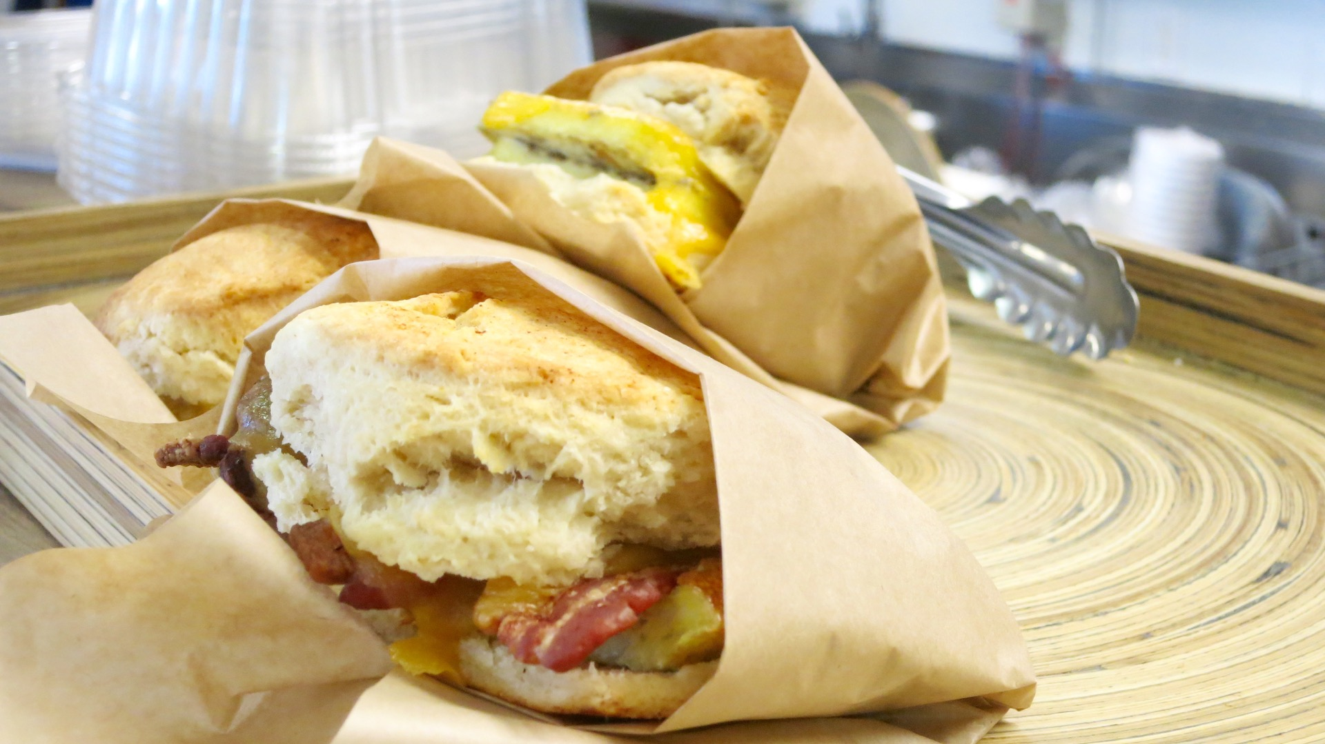 You can skip lunch as Zella's Soulful Kitchen's hearty breakfast biscuit sandwich with bacon will tide you over until dinnertime.