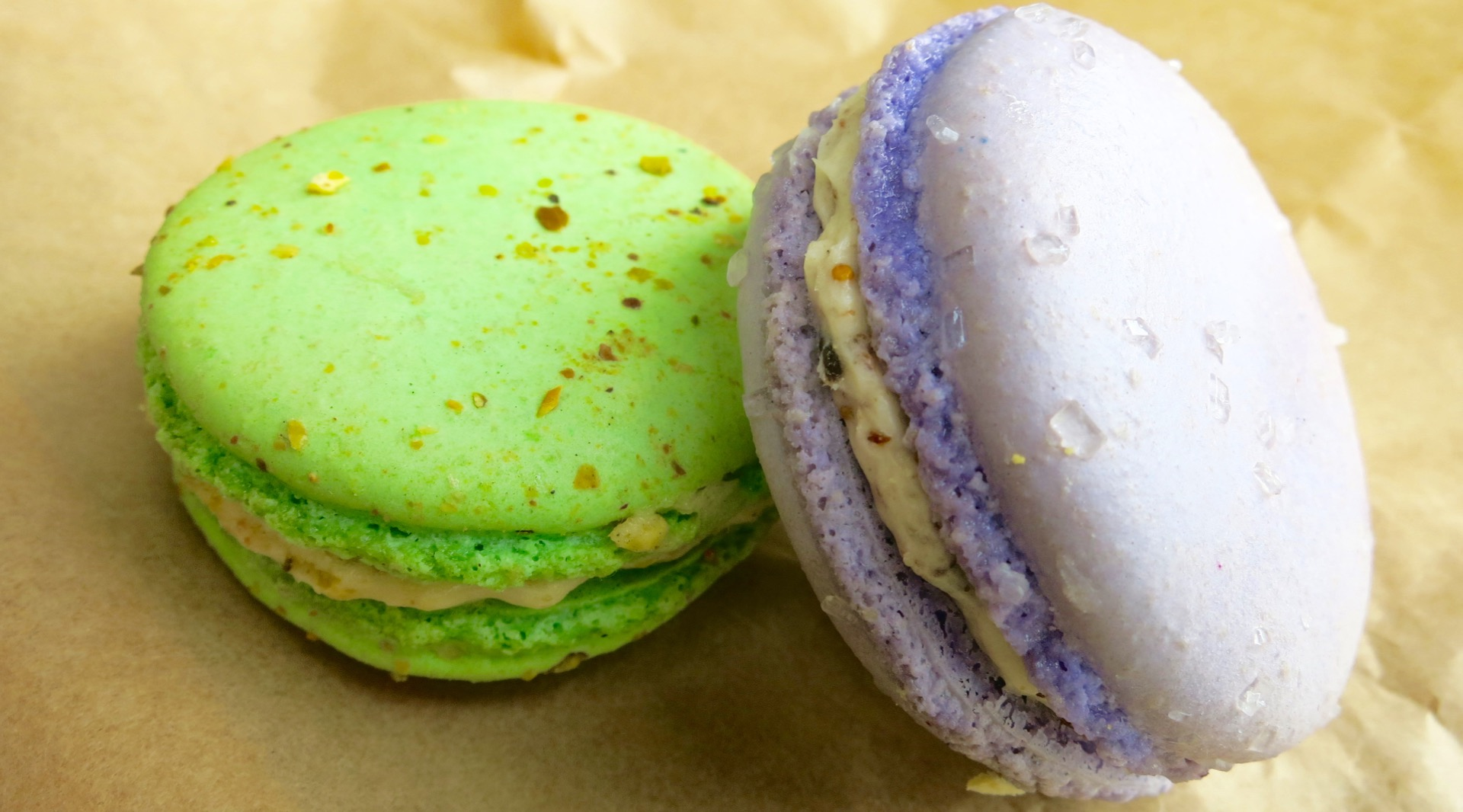 Pistachio and honey lavendar macarons from Feel Good Bakery in Alameda