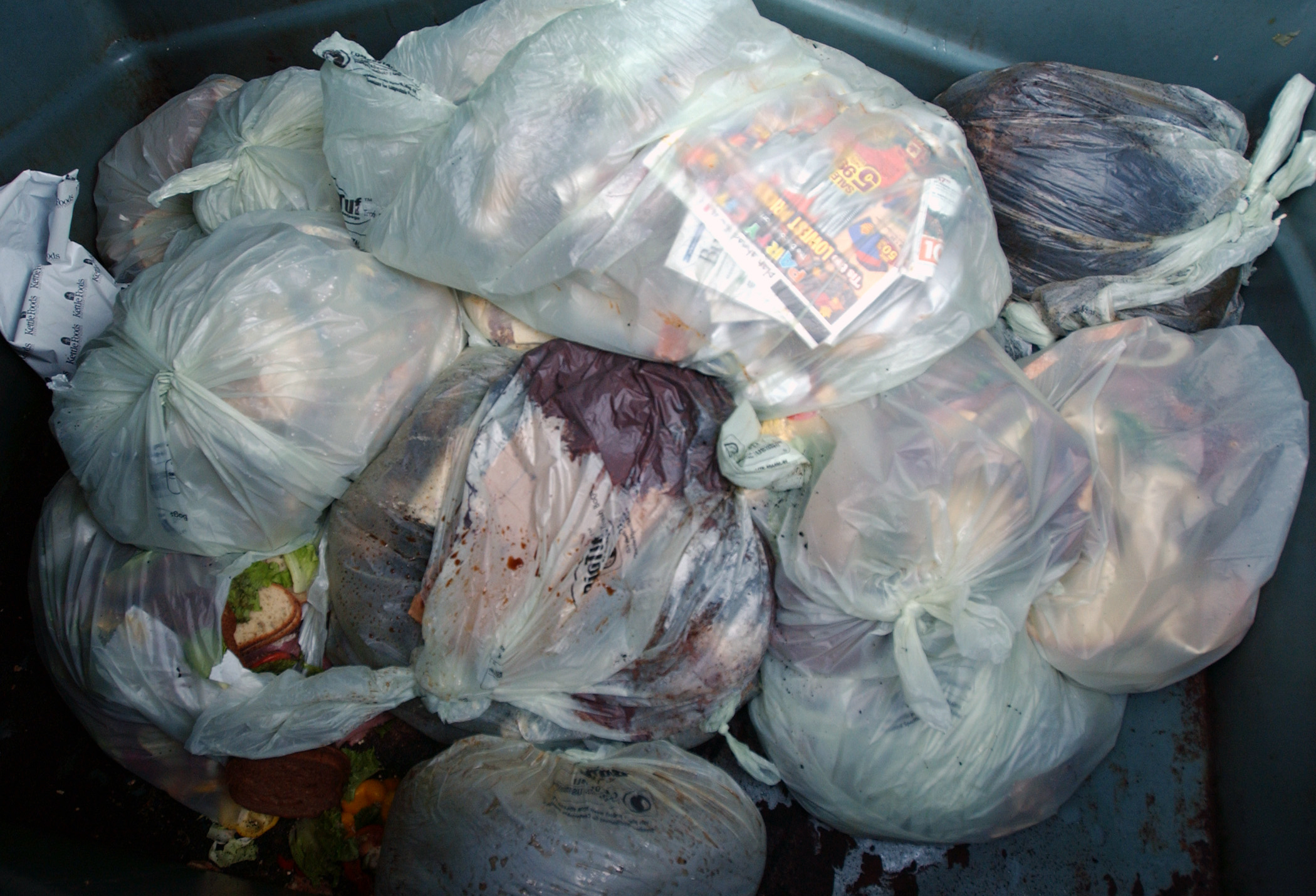 Food waste in biodegradable bags in a dumpster at Portland International Airport in Portland, Ore., Thursday Nov. 20, 2008.
