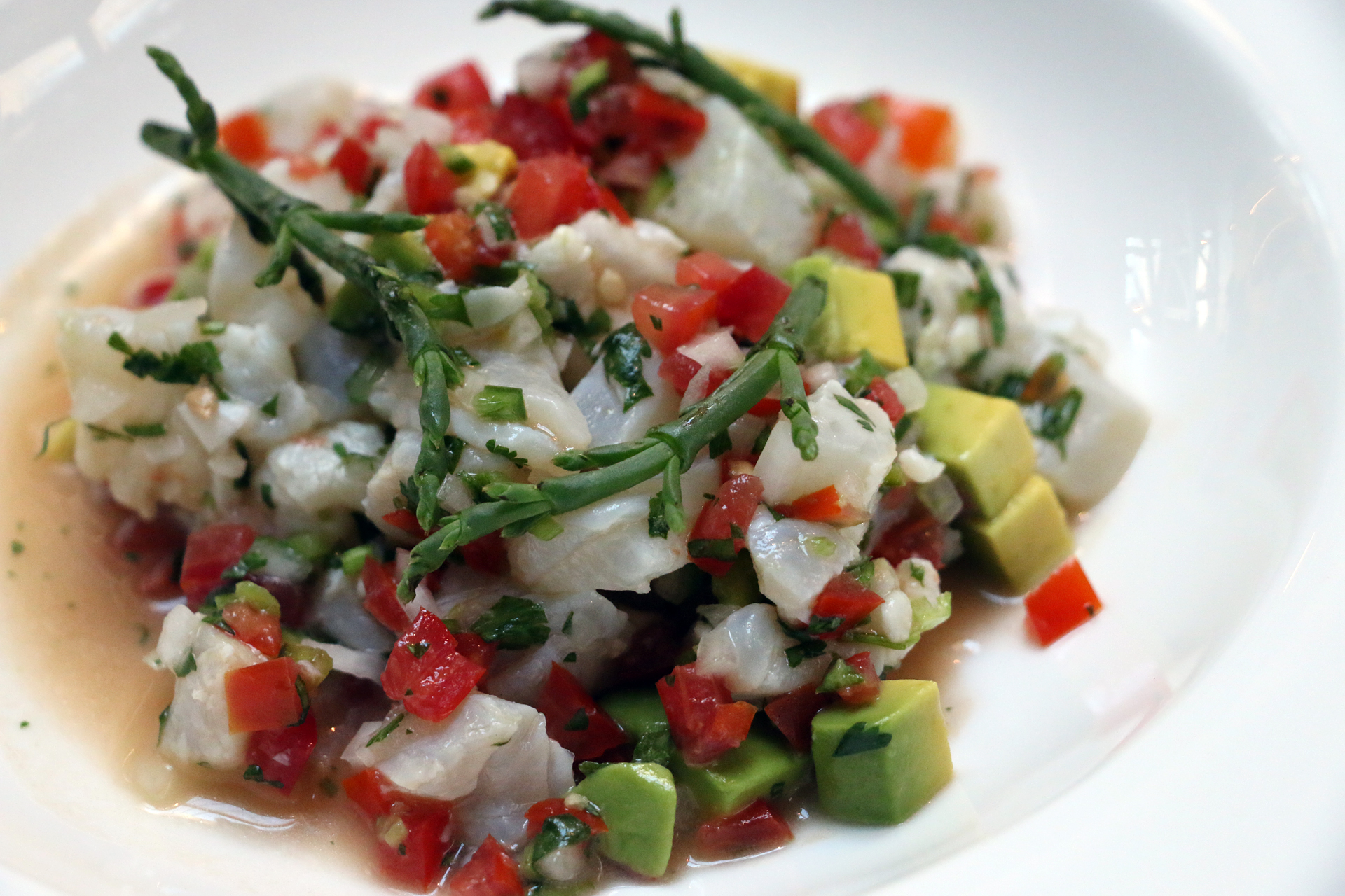 Cala's Halibut ceviche with sea beans and avocado