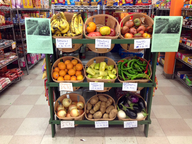 Fresh, local, organic produce is now stocked at the Three Amigos Market in East Oakland as part of the Healthy Corner Store Project.