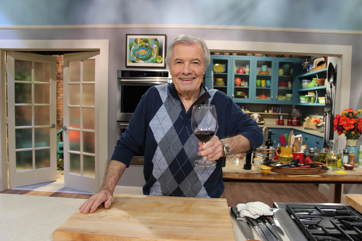 Jacques Pépin toasting on the set of Heart & Soul.