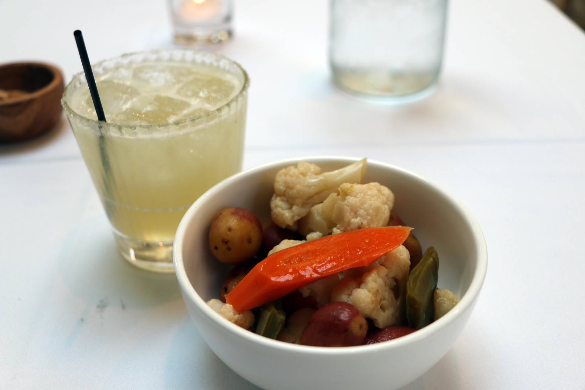 Mezcal margarita and vegetable escabeche.