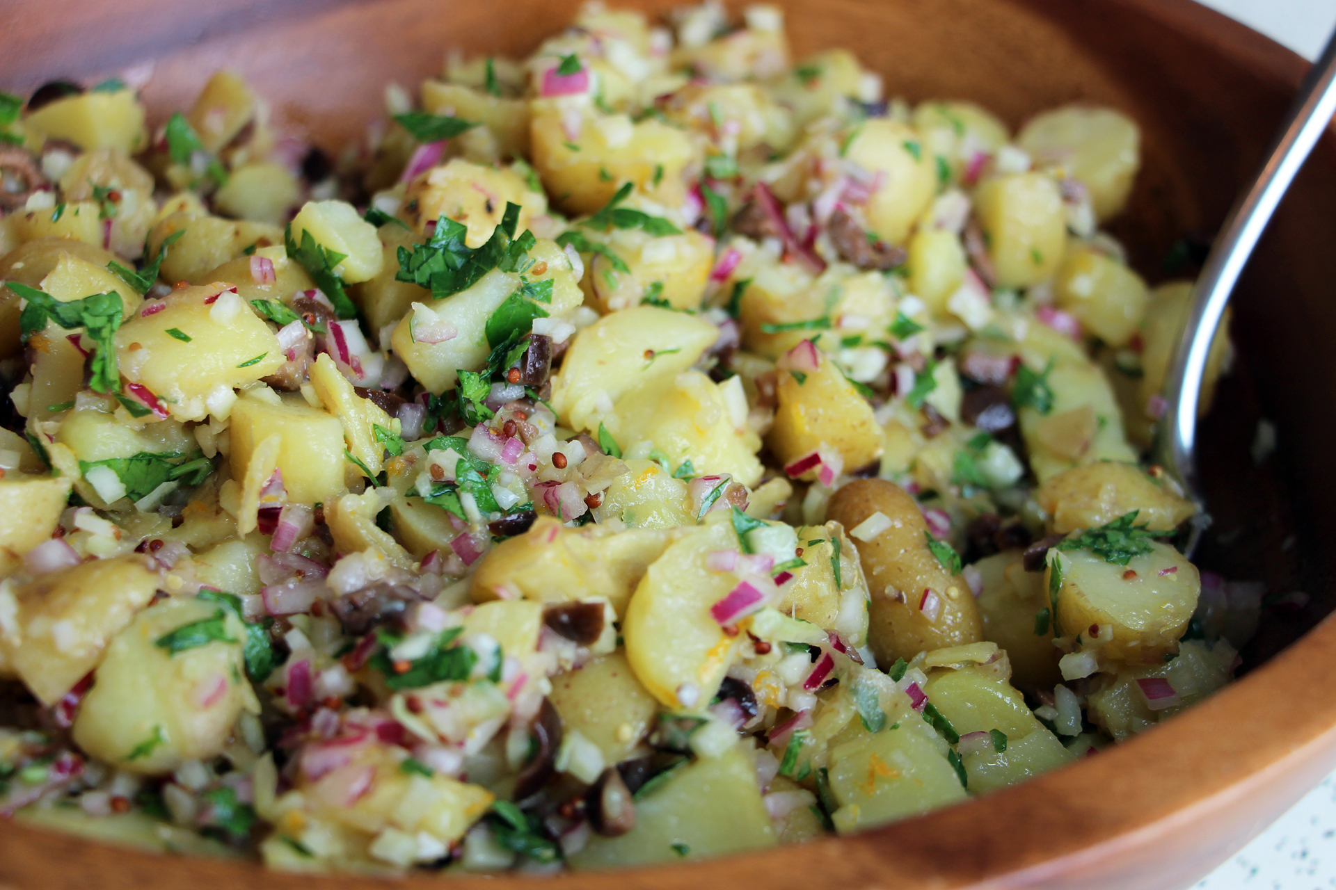 Fingerling Potato Salad with Black Olives, Orange-Mustard Vinaigrette and Chopped Fennel