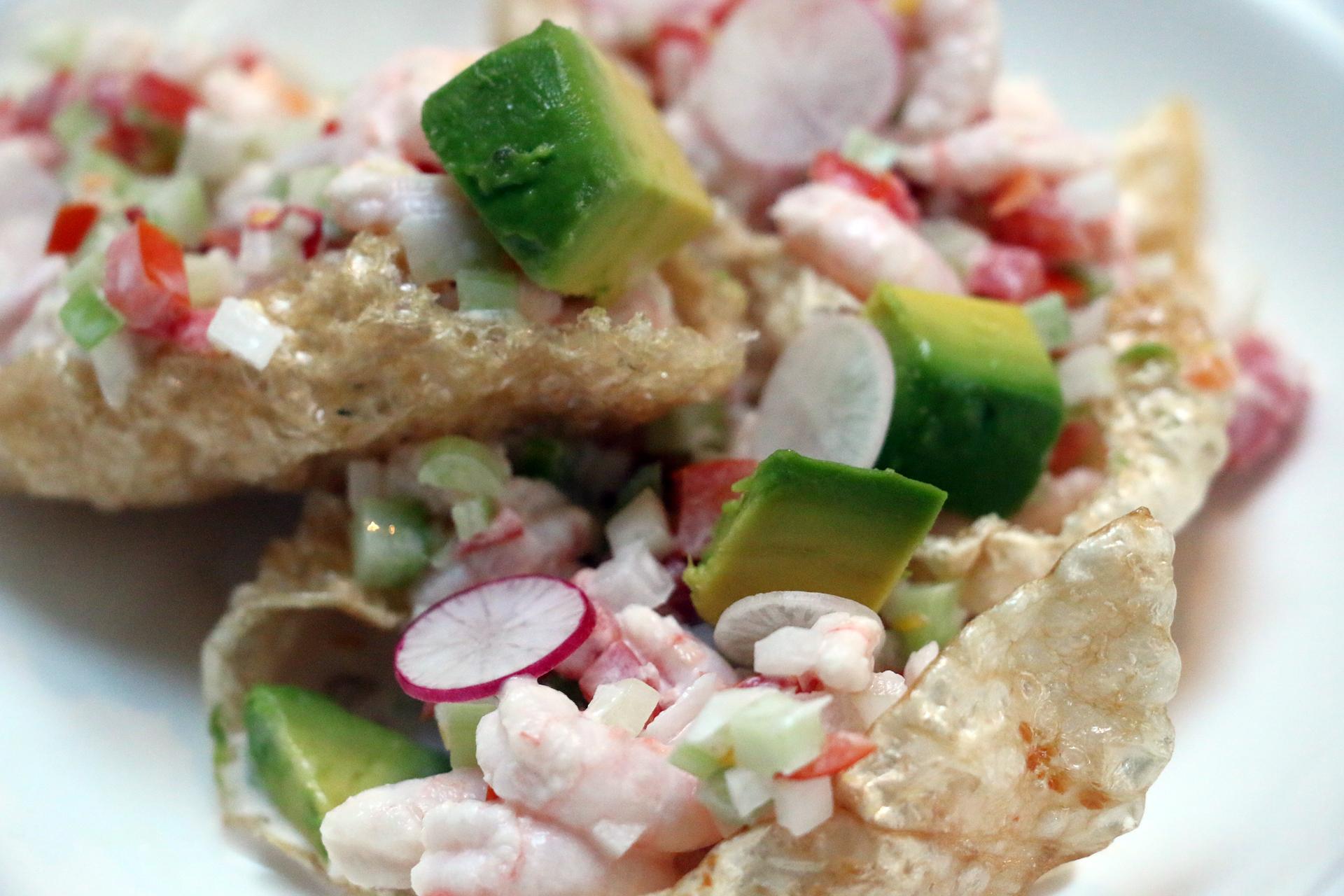 Chicharrónes and bay shrimp with habañero.