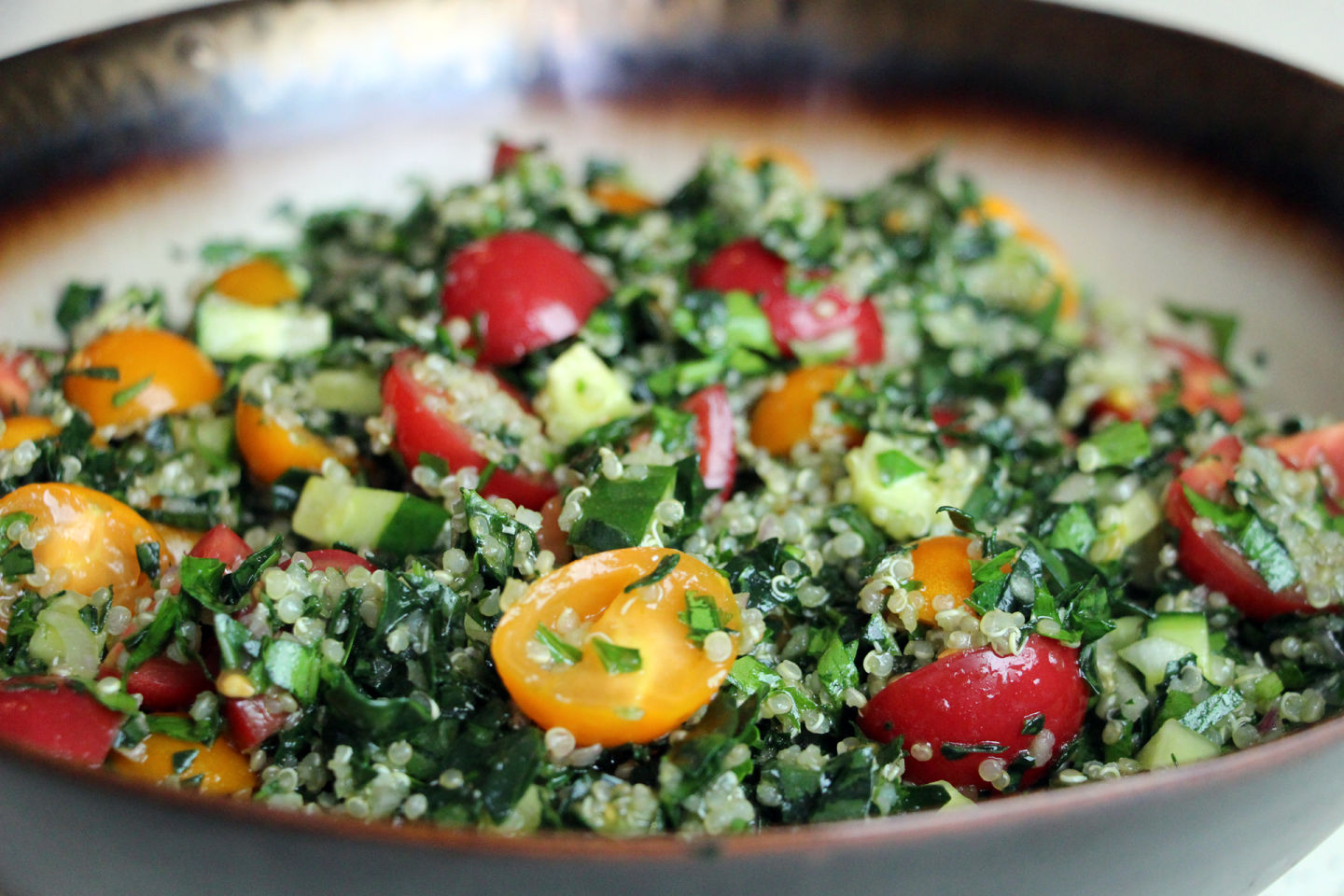 Healthy End-of-Summer Mediterranean-Style Kale and Quinoa Tabouli Salad