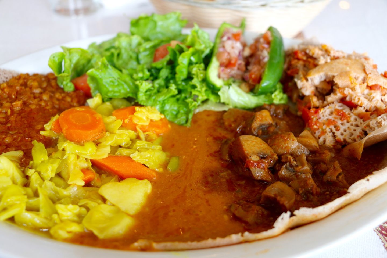 The vegetarian combination plate at Abesha. Kim Westerman