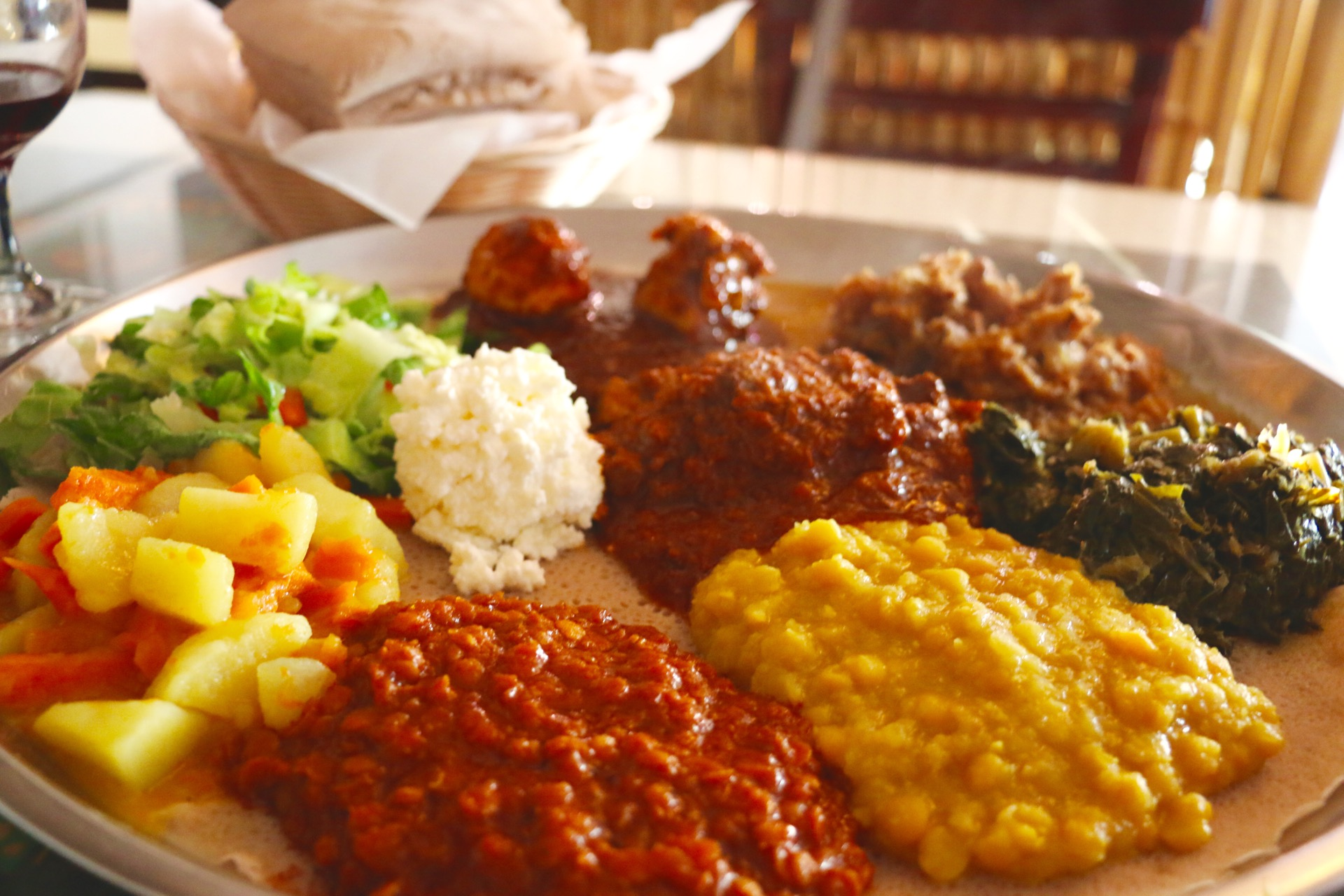 Addis' meat and vegetable combination plates served on one platter.