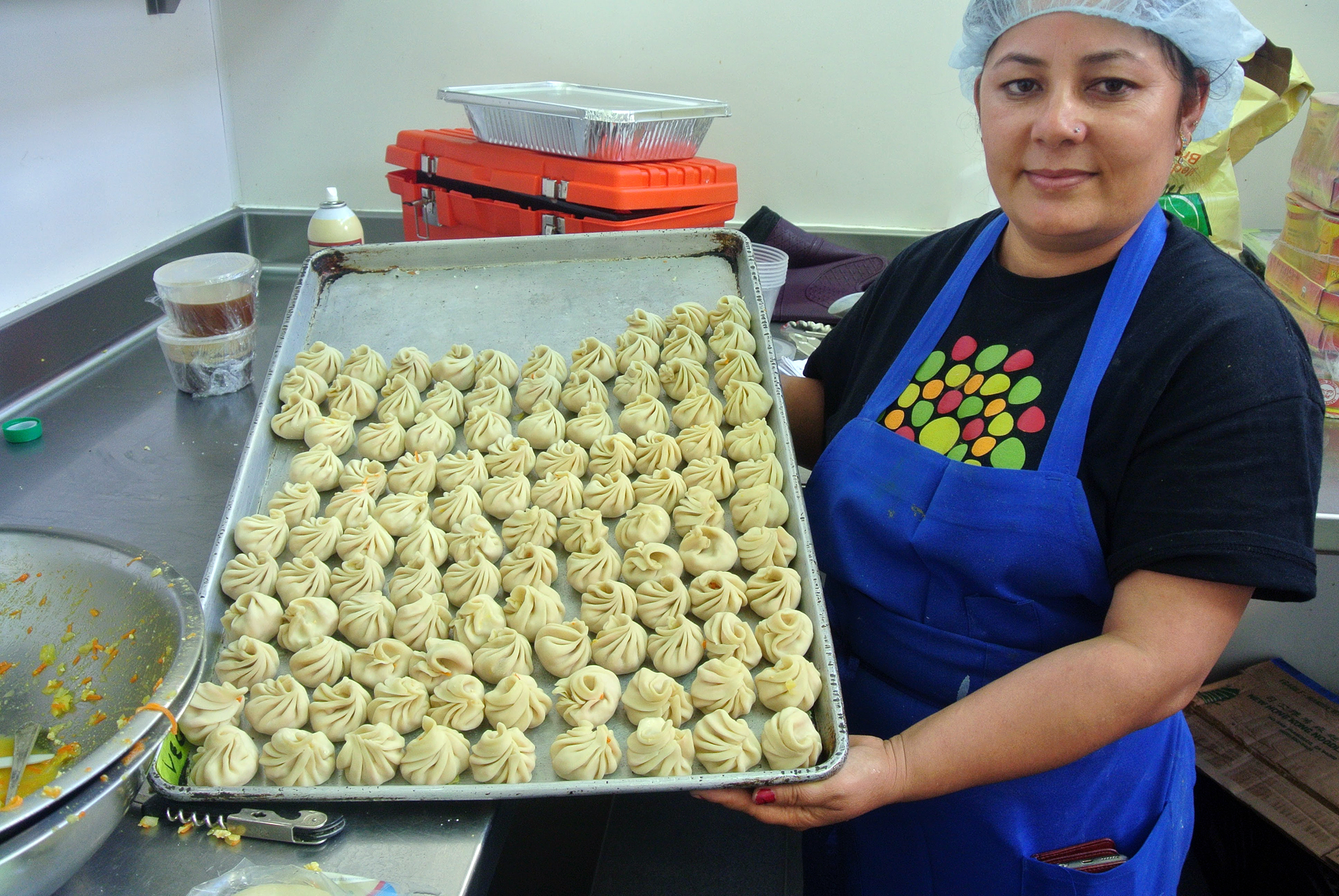 Momos ready for steaming at Bini's Kitchen