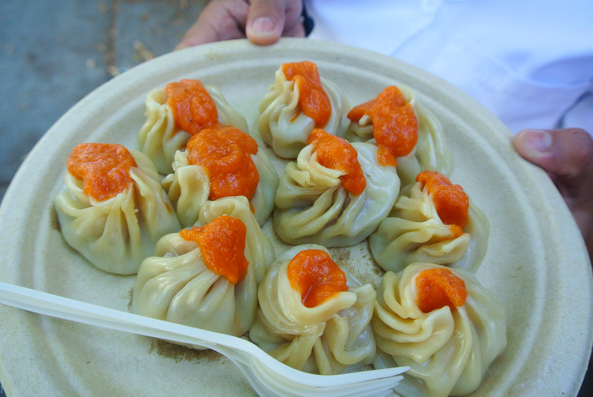 Momos from Bini's Kitchen, topped with tomato sauce