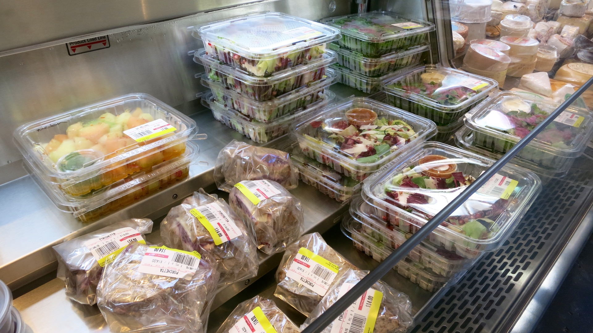 Pre-packaged sandwiches and salads.
