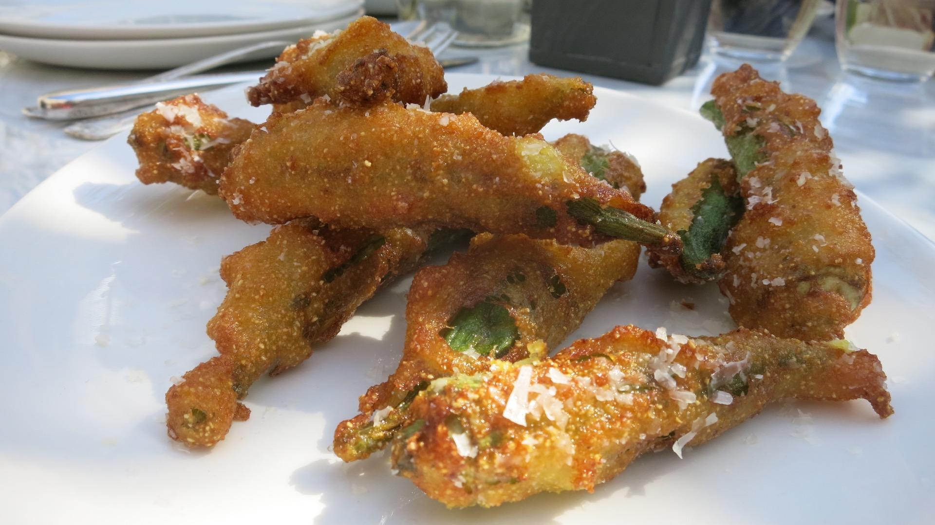 Fried okra with parmesan and Green Goddess dressing. ($7)