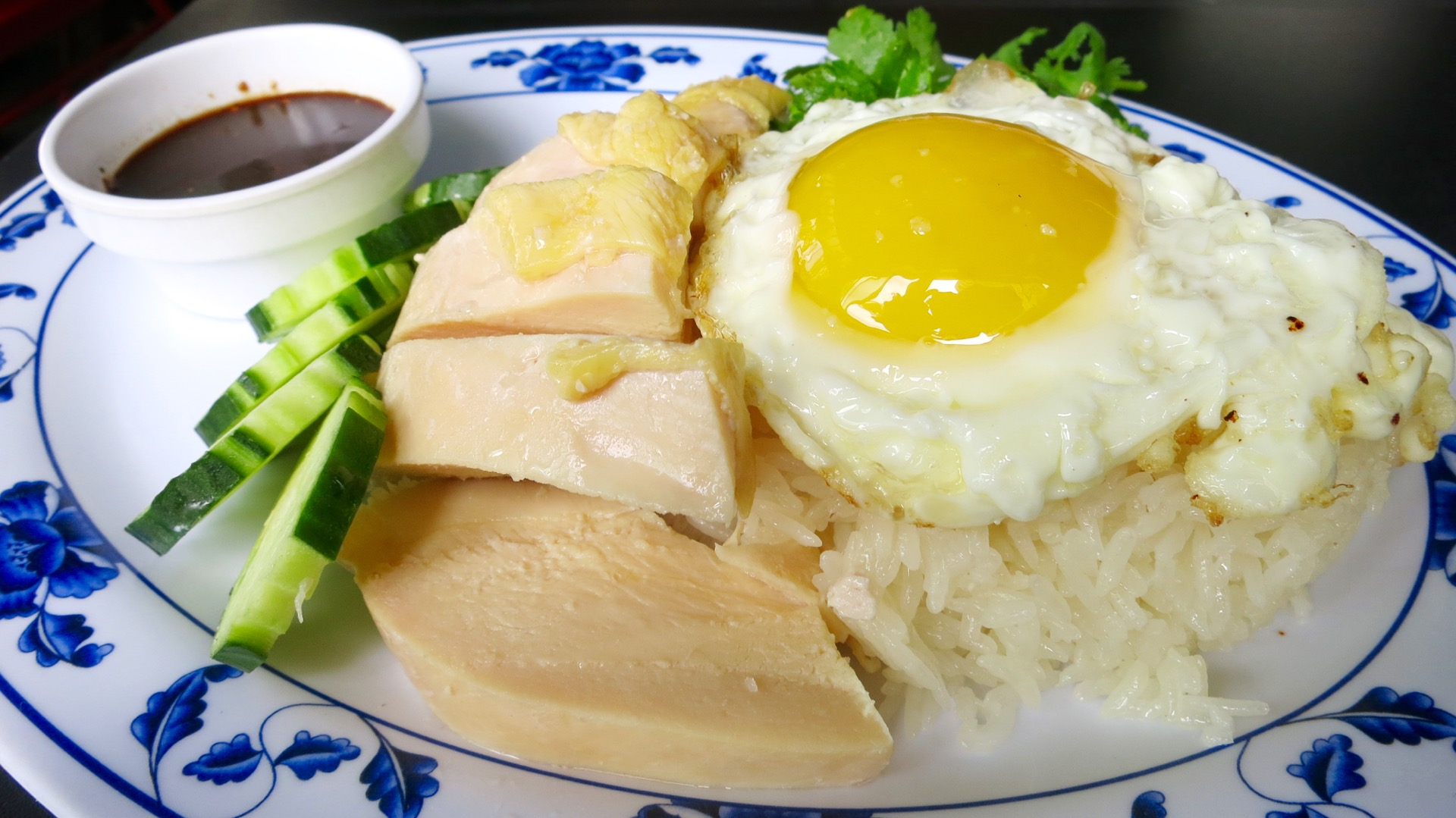 Khao mun gai is a classic Thai comfort food dish.