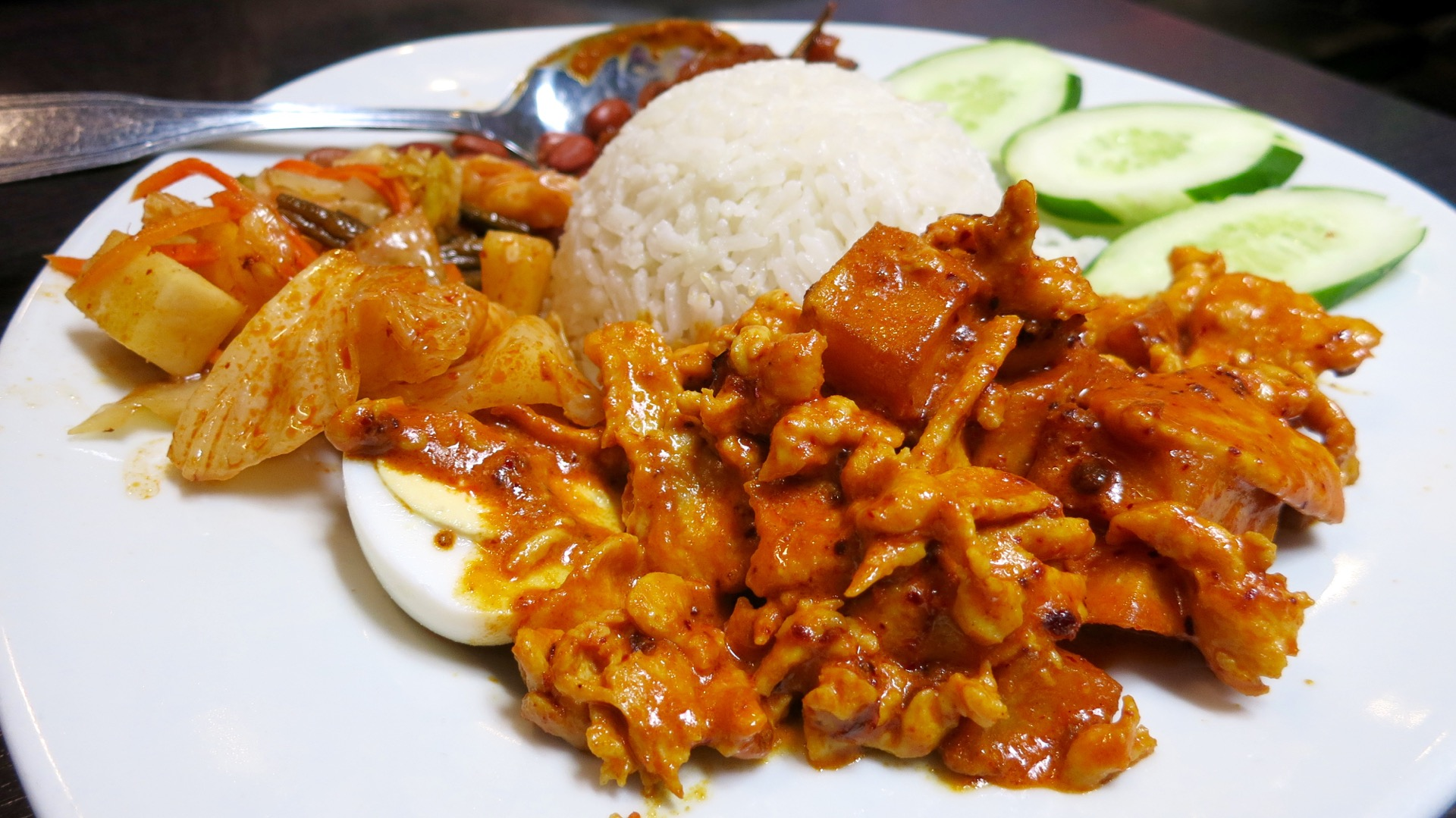 Nasi lemak, the national dish of Malaysia, at Chilli Padi.